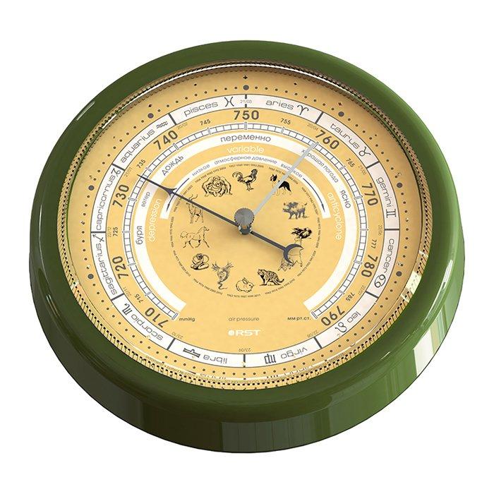 Барометр анероид Rst 05775Барометры<br>Классический механический настенный барометр (анероид) RST 05775 выполнен в неподражаемом стиле с эргономичным циферблатом, который украшен оригинальным зодиакальным календарем. Корпус барометра сделан из высококачественного пластика. Прекрасный подарок для рыболова или охотника. <br><br>Страна: Швеция<br>Диапазон p, мм. рт. ст.: 710790<br>Цвет: Античная вишня<br>Питание, В: Нет<br>Тип батарейки: None<br>Тип установки: Настенный<br>Стиль исполнения: Классический<br>Термометр: Нет<br>Гигрометр: Нет<br>Часы: Нет<br>Габариты, мм: 168х200х40<br>Вес, кг: 1<br>Гарантия: 1 год<br>Ширина мм: 200<br>Высота мм: 168<br>Глубина мм: 40