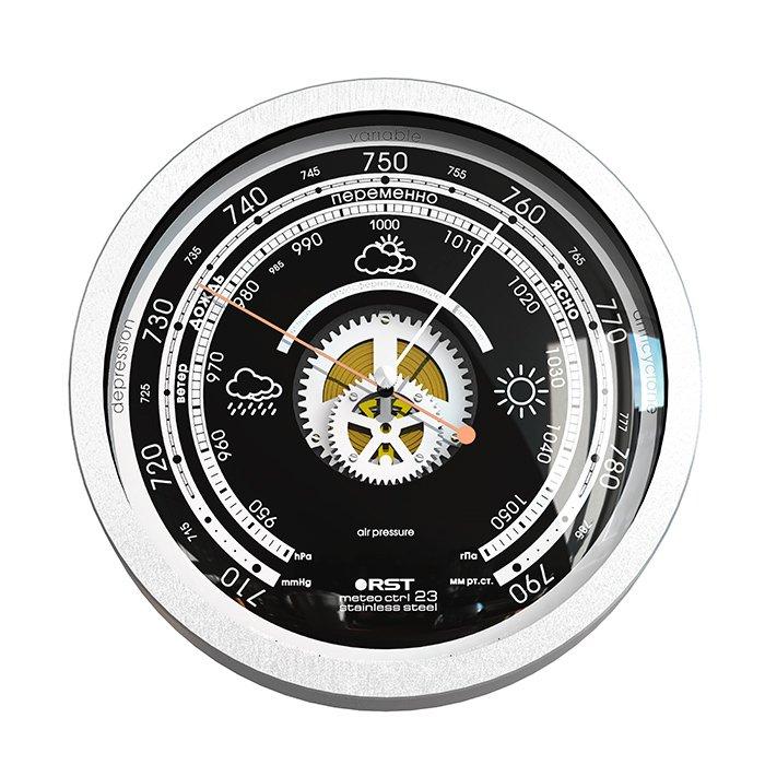 Атмосферный барометр Rst 07823Барометры<br>Атмосферный металлический барометр RST 07823 серии Meteo ctrl 23 stainless steel   это высокоточный механизм, собранный вручную, заключенный в стильный эргономичный корпус. Комнатный барометр выполнен в оригинальном дизайне: циферблат черного цвета оснащен шкалой атмосферного давления с метками, цифровыми и графическими погодными указателями. <br><br>Страна: Швеция<br>Диапазон p, мм. рт. ст.: 710790<br>Цвет: Серая сталь<br>Питание, В: Нет<br>Тип батарейки: None<br>Тип установки: Настенный<br>Стиль исполнения: Hitech<br>Термометр: Нет<br>Гигрометр: Нет<br>Часы: Нет<br>Габариты, мм: 208х41<br>Вес, кг: 2<br>Гарантия: 1 год