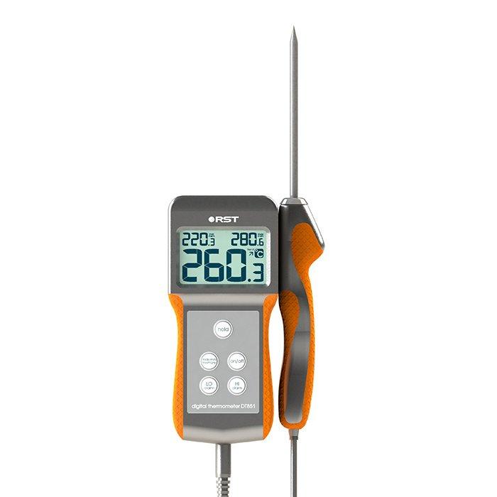 Термометр Rst 07851Высокотемпературные<br>RST 07851 &amp;ndash; это высокоточный электронный термометр, предназначенный для измерения температуры в пределах от -50 до +300 градусов. Модель выполнена в эргономичном и практичном водонепроницаемом корпусе с прорезиненными вставками. В комплекте поставляется датчик высокой чувствительности с выносным термощупом из стали. Система экономии питания SES гарантирует низкое потребление электричества.<br>Особенности рассматриваемой модели термометра:<br><br>Измерение температуры в диапазоне &amp;nbsp;-50 до +300?С<br>Разрешение &amp;ndash; 0.1 &amp;deg;С<br>Водонепроницаемый корпус<br>Система экономии питания<br>Звуковая сигнализация<br>Меню с сенсорным интерфейсом<br>Питание батарея 2 х 1,5 В типа AAA<br><br>Термометры от торговой марки RST &amp;ndash; это всегда высокой качество материалов, передовой дизайн и комфорт в эксплуатации. Все изделия могут похвастать длительным сроком службы. В семействе представлены, как бытовые, так и профессиональные устройства.<br><br>Страна: Швеция<br>Диапазон  t, С: 50+300<br>Разрешение, С: 0.1<br>Цвет: Серебро<br>Питание, В: Батарейки<br>Тип батарейки: АА<br>Колво батареек: 2<br>Габариты, мм: 56х126х30<br>Вес, кг: 1<br>Гарантия: 1 год<br>Назначение: Высокотемпературный<br>Ширина мм: 126<br>Высота мм: 56<br>Глубина мм: 30