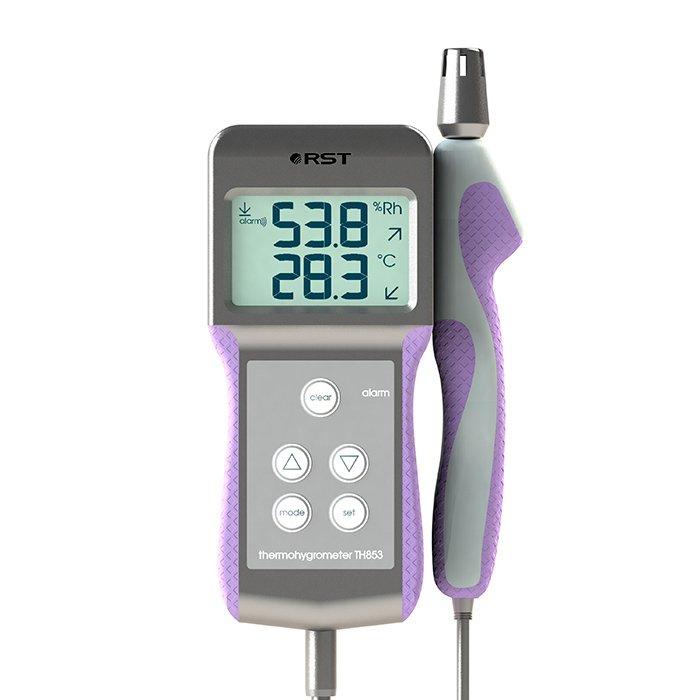 Термометр Rst 07853С радиодатчиком<br>Rst 07853 &amp;ndash; это высокоточный психрометр, который поможет максимально точно определить температуру и влажность воздуха, почвы, жидкости и других сред. Допускается эксплуатация модели в пищевом производстве. Из особенностей стоит отметить звуковую сигнализацию предельных показаний, удобное управление и систему автоматического запоминания минимального и максимального значений.<br>Особенности рассматриваемой модели термометра:<br><br>Измерение температуры в диапазоне&amp;nbsp; -40~+80 &amp;deg;С<br>Разрешение температуры &amp;ndash; 0.1 &amp;deg;С<br>Разрешение влажности &amp;ndash; 0.1% rH<br>Водонепроницаемый корпус<br>Система экономии питания<br>Звуковая сигнализация<br>Меню с сенсорным интерфейсом<br>Питание батарея 2 х 1,5 В типа AAA<br><br>Термометры от торговой марки RST &amp;ndash; это всегда высокой качество материалов, передовой дизайн и комфорт в эксплуатации. Все изделия могут похвастать длительным сроком службы. В семействе представлены, как бытовые, так и профессиональные устройства.<br><br>Страна: Швеция<br>Питание, В: Батарейки<br>Диапазон  t, С: 40+80<br>Тип батарейки: AAA<br>Колво батареек: 2<br>Габариты, мм: 56х126х30<br>Вес, кг: 1<br>Гарантия: 1 год<br>Назначение: С радиодатчиком<br>Ширина мм: 126<br>Высота мм: 56<br>Глубина мм: 30