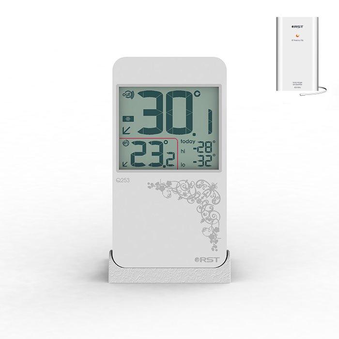Термометр Rst 2253С радиодатчиком<br>Компактный цифровой термометр с радиодатчиком RST 2253 показывает тенденцию изменения температурных показаний в понятном для пользователя графическом виде на монохромном числовом дисплее, позволяет сохранить предельные значения. Представленный термометр выглядит просто и лаконично благодаря современному дизайну, размещается на горизонтальной поверхности внутри жилого помещения.<br>Основные функции и возможности рассматриваемой модели термометра от компании RST:<br><br>Термометр цифровой с беспроводным  датчиком<br>Миниатюрный изящный дизайн, элегантный узор на панели<br>Цвет корпуса   белый<br>Сенсорное управление<br>Измерение температуры воздуха в помещении и на улице<br>Показания минимальной и максимальной температуры за прошедшие 24 часа<br>Направление изменения температуры в виде стрелочек<br>Предупреждение о заморозках в виде изображения снежинки<br>Удобная настольная подставка, возможность крепления на стене<br>Показатель состояния батарей питания<br><br>Метеоприборы от одного из ведущих производителей современного рынка   компании RST   это всегда высокое качество материалов, комфорт в эксплуатации и длительный срок службы. В семействе представлены, как бытовые модели, так и приборы для профессионального использования.  В нашем интернет-магазине каждый пользователь сможет подобрать себе нужное устройство от компании  RST.<br><br>Страна: Китай<br>Питание, В: Батарейки<br>Диапазон  t, С: 15+50<br>Тип батарейки: LR44<br>Колво батареек: 1<br>Габариты, мм: 110х61x11<br>Вес, кг: 1<br>Гарантия: 1 год<br>Назначение: С радиодатчиком<br>Ширина мм: 61<br>Высота мм: 110<br>Глубина мм: 11