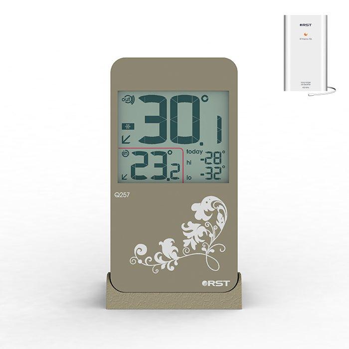 Термометр Rst 2257С радиодатчиком<br>Комнатный цифровой термометром с радиодатчиком от надежного и достойного бренда RST 2257 имеет привлекательное дизайнерское решение в стиле iPhone 4 с элегантными узорами, что делает его приятным в использовании и позволяет лаконично вписать в пространство помещения. Представленное устройство имеет широкий диапазон измерения температура и сохраняет минимальное и максимальное значение в течение дня.<br>Основные функции и возможности рассматриваемой модели термометра от компании RST:<br><br>Термометр цифровой с беспроводным  датчиком<br>Миниатюрный изящный дизайн, элегантный узор на панели<br>Цвет корпуса   белый<br>Сенсорное управление<br>Измерение температуры воздуха в помещении и на улице<br>Показания минимальной и максимальной температуры за прошедшие 24 часа<br>Направление изменения температуры в виде стрелочек<br>Предупреждение о заморозках в виде изображения снежинки<br>Удобная настольная подставка, возможность крепления на стене<br>Показатель состояния батарей питания<br><br>Метеоприборы от одного из ведущих производителей современного рынка   компании RST   это всегда высокое качество материалов, комфорт в эксплуатации и длительный срок службы. В семействе представлены, как бытовые модели, так и приборы для профессионального использования.  В нашем интернет-магазине каждый пользователь сможет подобрать себе нужное устройство от компании  RST. <br><br>Страна: Китай<br>Питание, В: Батарейки<br>Диапазон  t, С: 15+50<br>Тип батарейки: LR44<br>Колво батареек: 1<br>Габариты, мм: 110х61x11<br>Вес, кг: 1<br>Гарантия: 1 год<br>Назначение: С радиодатчиком<br>Ширина мм: 61<br>Высота мм: 110<br>Глубина мм: 11