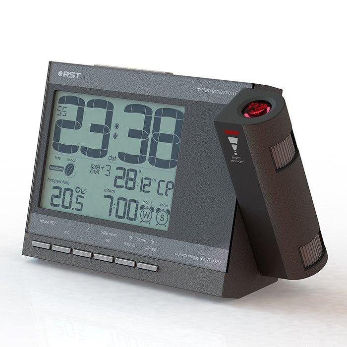 Цифровая метеостанция Rst 32755Красная проекция<br>Электронные часы RST 32755 служат не только для точной ориентации во времени, но также служит многофункциональной метеостанцией, способной освещать Вас о температурных состояниях в помещении в любое время. Устройство имеет множество настроек, а также удобный проектор, транслирующий информацию с дисплея на потолок или на стену. Часы настольные +с проекцией   стильный современный гаджет.<br><br>Страна: Швеция<br>Питание, В: Сеть/Бат.<br>Тип батарейки: АА<br>Колво батареек: 2<br>Адаптер к 220В: Есть<br>С будильником: Да<br>Радиодатчик: RST02252<br>С метеостанцией: Да<br>В помещении t, С: Да<br>За окном t, С: Нет<br>Влажность в помещении: Нет<br>Влажность за окном: Нет<br>Давление: Нет<br>Прогноз погоды: Нет<br>Габариты, мм: 155x100x28<br>Вес, кг: 1<br>Гарантия: 1 год<br>Ширина мм: 100<br>Высота мм: 155<br>Глубина мм: 28