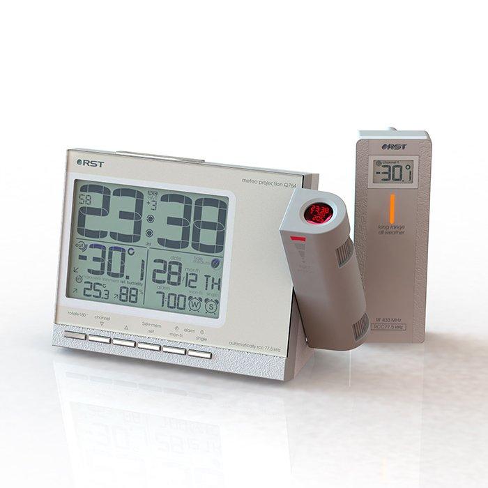 Проекционные часы с метеостанцией Rst 32764Красная проекция<br>32764 Rst   стильные современные проекционные часы с метеостанцией, выполненные в корпусе цвета слоновой кости, предназначение которых заключается не только в определении времени, дня недели и фазы луны, но и в точных измерениях комнатных температур, проецировать данные дисплея на стену или на потолок. Часы настольные с проекцией 32764   действительно интеллектуальное устройство, оснащенное целым рядом различных настроек, благодаря которым каждый сможет  собрать  прибор  под себя .<br><br>Страна: Швеция<br>Питание, В: Сеть/Бат.<br>Тип батарейки: AA<br>Колво батареек: 2<br>Адаптер к 220В: Есть<br>С будильником: Да<br>Радиодатчик: Есть<br>С метеостанцией: Есть<br>В помещении t, С: Да<br>За окном t, С: Да<br>Влажность в помещении: Да<br>Влажность за окном: Нет<br>Давление: Нет<br>Прогноз погоды: Нет<br>Габариты, мм: 155x100x28<br>Вес, кг: 1<br>Гарантия: 1 год<br>Ширина мм: 100<br>Высота мм: 155<br>Глубина мм: 28