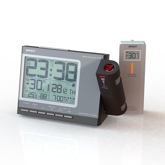 Проекционные часы Rst 32765Красная проекция<br>RST 32765 &amp;ndash; это современные комнатные проекционные часы с эргономичным цифровым дисплеем, оснащенные полным функционалом домашней метеостанции. Пользователь может сам настроить цвет подсветки часов; также данная модель оснащена умным будильником и всегда отображает актуальную дату. С высокой точностью устройство определяет температуру и влажность воздуха.<br>Особенности и преимущества проекционных часов RST представленной модели:<br><br>Проекция времени и температуры снаружи помещения на стену или потолок в темное время суток<br>Выбор цвета - зеленый, голубой, синий - мягкая подсветка дисплея с двумя режимами.<br>Часы с системой синхронизации времени и даты по радиосигналам точного времени RCC 77.5 kHz*<br>Выбор режима отображения времени 12/24 ч., возможность установки времени в ручную<br>Система DST - автоматический переход на зимнее/летнее время.<br>Автоматический календарь с указанием с указанием дня и номера недели.<br>Система &amp;ldquo;Intelligent alarm&amp;rdquo; (разумный будильник).<br>Анимированный лунный календарь с указанием силы приливов и отливов<br>Температура внутри помещения, тенденция ее изменения, температура может индицироваться в градусах Цельсия или&amp;nbsp;градусах Фаренгейта.<br>Автоматическое запоминание максимального и минимального зарегистрированного значений температур.<br>Влажность&amp;nbsp;в % со стрелочным отображением тенденции ее изменения.<br>Индикатор состояния батареи.<br>Радиус приема сигнала от выносного радиодатчика: до 30 метров (при отсутствии помех), проектор: повышенной четкости, дальность проецирования до 10 метров.<br>Питание: батарея 2 х 1,5 В типа AA, сетевой адаптер 220 В, 50 Гц/7,5 В, 100 мА.<br>Пластиковый корпус.<br><br>В нашем интернет-магазине посетители найдут большой ассортимент метеоприборов и часов от торговой марки RST. Это и проекционные часы, и погодные станции, и универсальные гаджеты, которые могут и погоду предсказать, и уведомить о точном времен