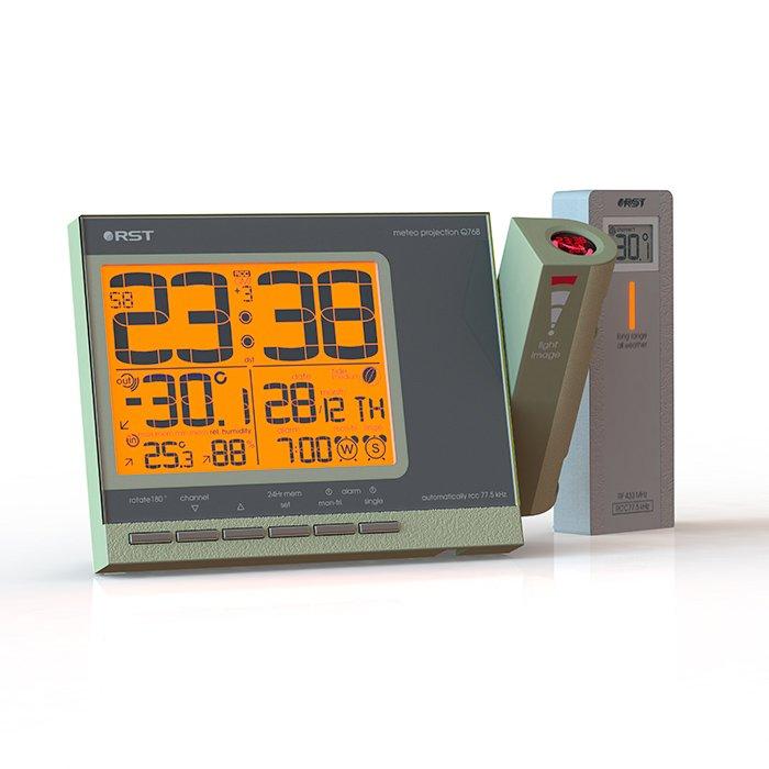 Часы с проекцией на стену Rst 32768Красная проекция<br>32768 от компании-производителя Rst представляет собой первоклассную модель ультрасовременных высокотехнологичных проекционных часов, имеющих широкий ряд различных функций, объединяющих в данном приборе временной информационный гаджет (показывает время, день недели, фазу луны и тд), а также удобную метеостанцию, сообщающую Вам об изменениях температуры. Возможно проецирование информации с дисплея на стену или на потолок. Часы с метеостанцией32768   электронные, отличаются высокой точностью.<br><br>Страна: Швеция<br>Питание, В: Сеть/Бат.<br>Тип батарейки: AA<br>Колво батареек: 2<br>Адаптер к 220В: Есть<br>С будильником: Да<br>Радиодатчик: Есть<br>С метеостанцией: Да<br>В помещении t, С: Да<br>За окном t, С: Да<br>Влажность в помещении: Да<br>Влажность за окном: Нет<br>Давление: Нет<br>Прогноз погоды: Нет<br>Габариты, мм: 155x100x28<br>Вес, кг: 1<br>Гарантия: 1 год<br>Ширина мм: 100<br>Высота мм: 155<br>Глубина мм: 28