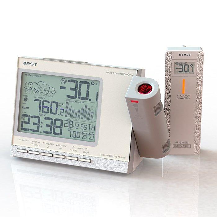 Проекционные часы Rst 32774Красная проекция<br>Модель RST 32774 представляет собой новейшую проекционную метеостанцию с широким передовым функционалом, исполненную в лаконичном высоконадежном корпусе. Устройство способно транслировать информацию с экрана на стену или потолок на расстоянии до десяти метров, а также позволяет узнавать температуру уличного воздуха и составляет прогноз погоды на основе полученных данных.<br>Особенности и преимущества проекционной метеостанции RST представленной модели:<br><br>Проекция времени, температуры вне помещения и прогноза погоды на стену или потолок в темное время суток<br>Легкая настройка фокуса и положения проецируемого изображения<br>Возможность поворота изображения на 180 <br>Проектор повышенной четкости, дальность проецирования до 10 метров, цвет луча красный <br>Температура внутри помещения и тенденция ее изменения<br>Температура вне помещения, передаваемая на базовый блок от максимум 3-х автономных радиодатчиков работающих на частоте 433 мГц на расстоянии до 30 метров на открытом пространстве, при отсутствии помех<br>Система автоматического мониторинга температур полученных с радиодатчиков<br>Автоматическое запоминание максимального и минимального зарегистрированного значений температур внутри и вне помещения<br>Сигнализация низкой температуры, образования гололеда и заморозков <br>Цифровой барометр с указанием тенденции изменения атмосферного давления<br>График изменения атмосферного давления за последние 24 часа<br>Анимированный лунный календарь с указанием силы приливов и отливов <br>Кварцевые часы с системой синхронизации времени и даты по радиосигналам точного времени RCC 77.5 kHz и выбором режима индицирования 12/24 часа<br>Система автоматического перехода на зимнее/летнее время DST (для стран где не отменен переход на зимнее/летнее время)<br>Вечный календарь с указанием даты, месяца, дня недели на английском языке<br>Многорежимный интеллектуальный будильник:  gentle alarm  постепенное увеличение громкости сигнала б