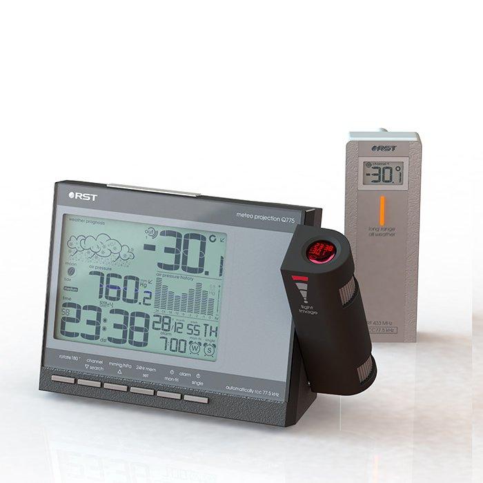 Проекционные часы Rst 32775Красная проекция<br>Настольные с метеостанцией часы модели RST 32775 &amp;ndash; это полезный и привлекательный аксессуар, который позволит постоянно, независимо от времени суток получить точную информацию о времени и погоде в настоящее время и прогноз погодных перемен на ближайшие сутки, выводя информацию на потолок или нас стену. Часы с лазерной проекцией RST 32775 &amp;ndash; современный полезный гаджет.<br><br>Страна: Швеция<br>Питание, В: Сеть/Бат.<br>Тип батарейки: АА<br>Колво батареек: 2<br>Адаптер к 220В: Есть<br>С будильником: Да<br>Радиодатчик: да<br>С метеостанцией: да<br>В помещении t, С: Да<br>За окном t, С: Да<br>Влажность в помещении: Да<br>Влажность за окном: Да<br>Давление: Да<br>Прогноз погоды: Да<br>Габариты, мм: 155x100<br>Вес, кг: 1<br>Гарантия: 1 год