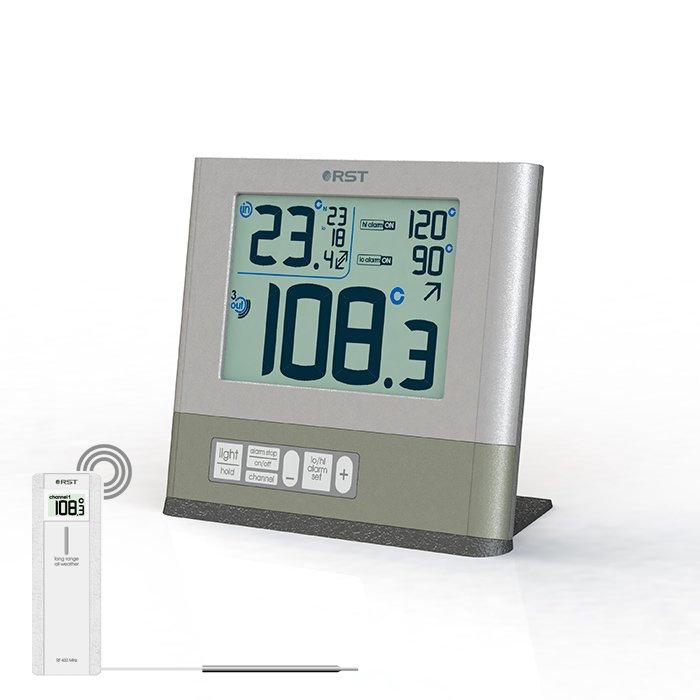 Термометр Rst 77110С радиодатчиком<br>Цифровой термометр RST 77110 с выносным датчиком может использоваться не только для дистанционного измерения температуры в бане, но и одновременного получения информации о температуре в трех различных объектах измерения, причем средой измерения может быть не только воздух (например, на улице, в бане и в доме. Такие приборы, имеющие контактный термощуп позволяют наиболее точно определить параметры температуры, чем ртутный термометр.<br><br>Страна: Швеция<br>Питание, В: Батарейки<br>Диапазон  t, С: 50+200<br>Тип батарейки: АА<br>Колво батареек: 2<br>Габариты, мм: 120х106х12х56<br>Вес, кг: 1<br>Гарантия: 1 год<br>Назначение: С радиодатчиком