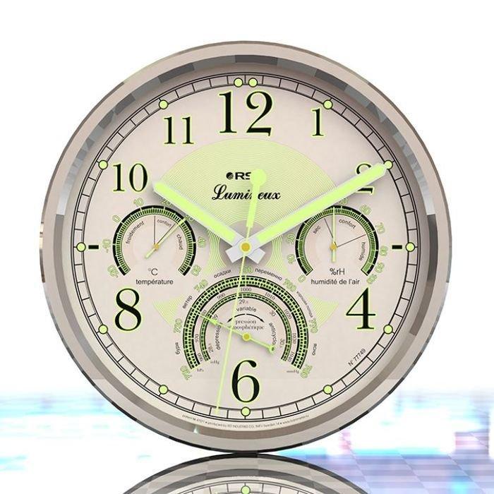 Светящиеся настенные метеочасы Rst 77749Барометр+Гигро+Термо<br>Модель RST 77749 &amp;ndash; это компактная домашняя метеостанция, выполненная в виде элегантных настенных часов. На стрелки и циферблат данного изделия нанесено люминесцентное покрытие, благодаря чему его удобно использовать в темноте. Станция предоставляет точную информацию о температуре комнатного воздуха, а также об атмосферном давлении и уровне влажности.<br>Особенности и преимущества настенных метеочасов RST представленной модели:<br><br>Настенные часы с бесшумным &amp;ldquo;плавающим&amp;rdquo; движением секундной стрелки. Тип подсветки циферблата и стрелок: люминисцентный.<br>Материал корпуса : пластик, металл.<br>Возможность крепления на стене.<br>Габаритные размеры: диаметр 290 мм, толщина 44 мм.<br>Центральные стрелки часа, минут и секунд.<br>Индикатор влажности в области 3 часов.<br>Индикатор температуры в 9 часах.<br>Индикатор давления в 6 часах.<br>Диапазон измерения атмосферного давления 720/780 мм. Рт. Ст.<br>Диапазон измерения температуры внутри помещения: -20/+50.<br>Диапазон измерения влажности, %: 0/100.<br><br>В нашем интернет-магазине посетители найдут большой ассортимент метеоприборов и часов от торговой марки RST. Это и проекционные часы, и погодные станции, и универсальные гаджеты, которые могут и погоду предсказать, и уведомить о точном времени. Их компактные размер позволяют с удобством разместить приборы на столе в комнате. Широкий функционал делает устройства универсальными. А стильный дизайн позволит выбрать гаджет и на подарок близкому человеку.<br><br>Страна: Швеция<br>Диапазон p, мм. рт. ст.: 720780<br>Диапазон t, C: 20+50<br>Диапазон rH, : 0100<br>Цвет: Белый<br>Питание, В: Батарейки<br>Тип батарейки: АА<br>Колво батареек: 1<br>Тип установки: Настенная<br>Стиль исполнения: Hitech<br>Термометр: Есть<br>Гигрометр: Да<br>Часы: Есть<br>Габариты, мм: 290x290x44<br>Вес, кг: 2<br>Гарантия: 1 год<br>Ширина мм: 290<br>Высота мм: 290<br>Глубина мм: 44