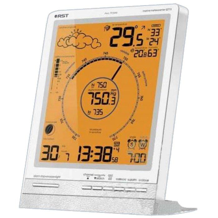 Цифровая метеостанция Rst 88773С радиодатчиком<br>RST 88773   это цифровая метеостанция с лаконичным, простым, но при этом оригинальным дизайнерским решением, которая имеет большой функционал и гарантирует комфортную эксплуатацию для современного пользователя. Представленная модель показывает прогноз погоды понятными анимированными изображениями, для измерения атмосферного давления используется высокоточный барометр.<br>Основные функции и возможности рассматриваемой метеостанции от компании RST:<br><br>Высокочувствительный цифровой барометр с классическим циферблатом<br>Система автоматического изменения масштаба шкалы барометра в случае, если давление будет ниже или выше указанной на шкале<br>Анимированный прогноз погоды<br>Беспроводная передача данных на 30-50 метров<br>Автоматический пересчёт времени и даты согласно UTC/GMT (по Гринвичу)<br>Автоматический перевод с зимнего на летнее время и обратно, система DST (для РФ по умолчанию отключена, пользователь может подключить в случае необходимости)<br>Температура воздуха в помещении и за окном, полученная от радиодатчиков (макс. 3)<br>Влажность воздуха в помещении<br>Технология lo-hi Ctrl определение и отображение на дисплее минимальной и максимальной температур за текущие сутки<br>Система предупреждения образования гололёда на дорогах ice alert<br>Индикаторы тенденций изменения температур, влажности и атмосферного давления<br>Цифровая семицветная подсветка дисплея<br>График изменения атмосферного давления за 36 часов<br>Анимированный лунный календарь с указанием силы приливов и отливов<br>Система  Intelligent alarm  (разумный будильник):  workday alarm  Вас разбудит только по рабочим дням недели и  single alarm  разбудит в указанное время<br>Язык: 5 языков (английский, немецкий, французский, итальянский, русский)<br>Устанавливается на столе и имеет настенный крепёж<br><br>Метеоприборы от одного из ведущих производителей современного рынка   компании RST   это всегда высокое качество материалов, комфорт в эксплуатаци