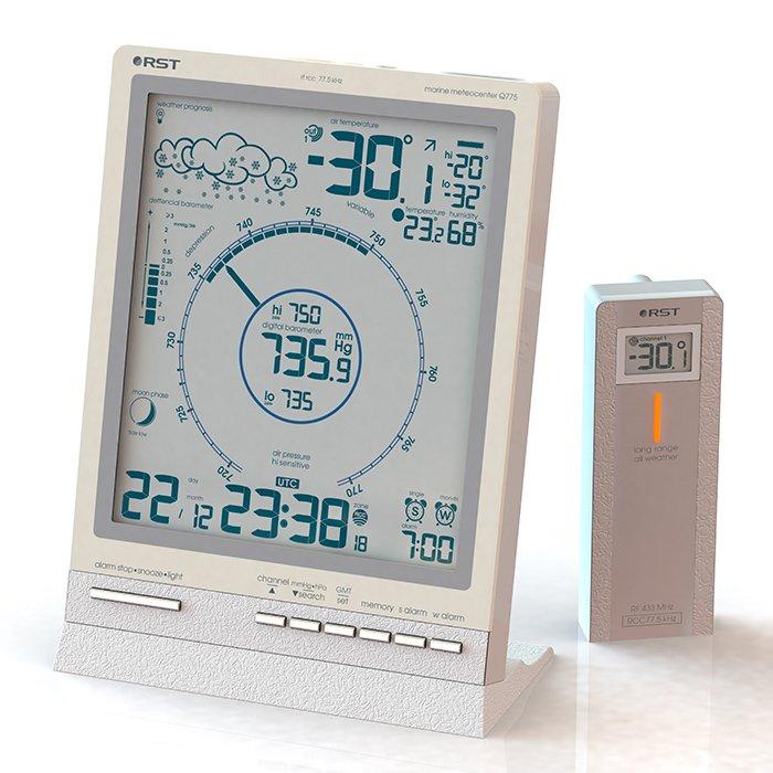 Цифровая метеостанция Rst 88775С радиодатчиком<br>Обладающая большим и полезным функционалом, цифровая метеостанция RST 88775 поставляется в комплекте с дистанционным датчиком, к которому можно будет подключить проводной термосенсор   это открывает новые возможности и позволяет измерять температурные показатели почвы или воды. Рассматриваемое изделие имеет большой и понятный ЖК-дисплей.<br>Основные функции и возможности рассматриваемой метеостанции от компании RST:<br><br>Высокочувствительный цифровой барометр с классическим циферблатом<br>Система автоматического изменения масштаба шкалы барометра в случае, если давление будет ниже или выше указанной на шкале<br>Анимированный прогноз погоды<br>Беспроводная передача данных на 30-50 метров<br>Автоматический пересчёт времени и даты согласно UTC/GMT (по Гринвичу)<br>Автоматический перевод с зимнего на летнее время и обратно, система DST (для РФ по умолчанию отключена, пользователь может подключить в случае необходимости)<br>Температура воздуха в помещении и за окном, полученная от радиодатчиков (макс. 3)<br>Влажность воздуха в помещении<br>Технология lo-hi Ctrl определение и отображение на дисплее минимальной и максимальной температур за текущие сутки<br>Система предупреждения образования гололёда на дорогах ice alert<br>Индикаторы тенденций изменения температур, влажности и атмосферного давления<br>Цифровая семицветная подсветка дисплея<br>График изменения атмосферного давления за 36 часов<br>Анимированный лунный календарь с указанием силы приливов и отливов<br>Система  Intelligent alarm  (разумный будильник):  workday alarm  Вас разбудит только по рабочим дням недели и  single alarm  разбудит в указанное время<br>Язык: 5 языков (английский, немецкий, французский, итальянский, русский)<br>Устанавливается на столе и имеет настенный крепёж<br><br>Метеоприборы от одного из ведущих производителей современного рынка   компании RST   это всегда высокое качество материалов, комфорт в эксплуатации и длительный срок службы. В с