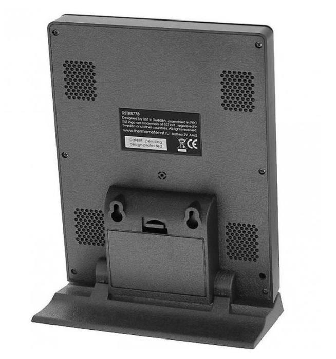Цифровая метеостанция Rst 88778С радиодатчиком<br>Автоматическая метеостанция&amp;nbsp;RST 88778&amp;nbsp;&amp;ndash; электронный прибор для дома, который готов в любой момент предоставить максимально полную информацию о текущей погоде на улице и состоянии воздуха в помещении, рассказать об атмосферных изменениях за прошедшие сутки\36 часов и составить прогноз предстоящих изменений атмосферного давления, влажности и температуры. Имеется приятная цветная подсветка.&amp;nbsp;<br><br>Страна: Швеция<br>Диапазон темп. t, С: 9.9+50<br>Диапазон p, мм. рт. ст.: 637,5787,5<br>Диапазон rH, : 2099<br>Разрешение t, С: None<br>Цвет корпуса: Черный<br>Питание, В: Батарейки<br>Колво батареек: 2<br>Тип батарейки: АА<br>Адаптер к 220В: Есть<br>В комнате t, С: Да<br>За окном t, С: Да<br>Влажность в помещении: Да<br>Влажность за окном: Да<br>Давление: Да<br>Прогноз погоды: Да<br>Лунный календарь: Да<br>Размер, мм: 170х130х18<br>Вес, кг: 1<br>Гарантия: 1 год<br>Ширина мм: 130<br>Высота мм: 170<br>Глубина мм: 18