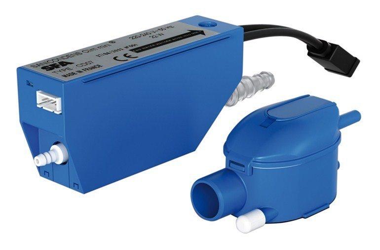 Канализационная установка SFA SANICONDENS CLIM MINIКанализационные установки<br>Для быстрого отвода конденсата от климатического, холодильного и вентиляционного оборудования, а также электрических бойлеров и других приборов, отличным решением будет установка поверхностной насосной станции SFA SANICONDENS CLIM MINI. Этот насос работает очень тихо и не дает вибрации, что делает его подходящим для использования даже в жилых домах и квартирах. Внутренние детали этого прибора изготовлены из полипропилена, поэтому он легко переносит содержание кислоты в отводящих водах.&amp;nbsp;<br>Основные характеристики насосной станции:<br><br>Предназначен для откачки конденсата<br>Устойчив к содержанию кислот в воде<br>Качает даже грязную воду<br>Материал изготовления - полипропилен<br>Большая производительность<br>Бесшумный двигатель<br>Отсутствие вибрации<br>Легкий монтаж<br>Компактный размер<br>Современный дизайн<br><br>Поверхностная конденсационная установка от компании SFA предназначена для принудительного отвода конденсата от холодильных витрин или камер, котлов климатических установок (кондиционеры, приточно-вытяжные или вентиляционные установки), а также бойлеров. Благодаря использованию специального материала для изготовления корпуса &amp;ndash; полипропилена &amp;ndash; этот прибор отлично справляется даже с кислотными остатками,&amp;nbsp; которые могут содержаться в воде.<br>Благодаря тому, что этот насос может отводить воду на большое расстояние, его можно установить вдали от стояка канализации, что дает большую гибкость при планировании отводящего трубопровода. Монтаж конденсационной насосной станции SFA возможен как напольный, так и настенный.&amp;nbsp;<br><br>Страна: Франция<br>Производитель: Франция<br>Назначение: Бытовое использование<br>диаметр откачивания, мм: 4/6<br>Max откачивание по вертикали, м: 6<br>Max откачивание по горизонтали, м: 30<br>Max необходимое давление, бар: None<br>Мощность, Вт: 22<br>Напряжение сети, В: 220 В<br>Max темп. жидкости, С: 35<br>Расхо