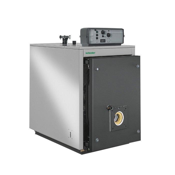 Двухходовой водогрейный котел Schuster100 кВт<br>Благодаря современной эргономичной конструкции водогрейный котел модели Schuster SKD 116 легко монтируется и обслуживается, а также характеризуется повышенной надежностью. Представленная модель имеет высокий уровень рабочей эффективности, безопасна в работе и долговечна. В комплекте вместе с котлом поставляется также специальный инструмент для проведения чистки.<br>Особенности и преимущества двухходовых водогрейных котлов отопления Schuster серии SKD:<br><br>Котлы отопления Schuster относятся к типу цилиндрических горизонтальных котлов с топочной инверсией пламени и имеют по три газохода в котловном блоке.<br>Все работающие под давлением элементы установки Schuster SKD изготовлены из качественной углеродистой стали.<br>Во многих моделях SDK (до 630) топка примыкает к задней стенке котловой части.<br>В некоторых случаях (SKD 760   SKD 3500) топка способна к некоторой деформации из-за передней фиксации к блоку котла.<br>Расположение дверцы котла может изменяться в зависимости от личных предпочтений.<br>Наружная обечайка котла отопления Schuster закрыта слоем стекловолокнистого изолятора мощностью до 80 мм, защищенным минеральной тканью.<br>Модели Schuster SKD 4500- SKD 7000 снаружи обшиты ламинированным войлоком, толщина которого 50 мм, закрытым алюминиевой обшивкой.<br>Мощность котлов серии SKD от 64 до 6000 кВт.<br>На обечайке предусмотрены транспортировочные крючки.<br><br>Комплектация:<br><br>внешний корпус с плотной изоляцией;<br>турбулизаторы;<br>ответные фланцы;<br>инструмент для чистки;<br>модифицированная панель управления.<br><br>Оборудование поставляется без горелки!<br>Серия SKD   это промышленные отопительные котлы, предназначенные для эксплуатации в водяной системе отопления. Агрегаты относятся к горизонтальному цилиндрическому типу, характеризуются наличием инверсии пламени, а также тремя ходами для газа в котловом блоке. Оборудование полностью соответствует необходимым нормам безопасности и стандартам ка