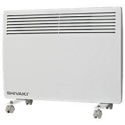 Конвектор электрический Shivaki Shif-EC202W20 м? - 2.0 кВт<br>Shivaki Shif-EC202W является самым мощным конвекторным обогревателем этой серии и самостоятельно прогреет помещение площадью до 25 квадратных метров. Этот прибор привлекателен своими маленькими размерами при своей высокой тепловой мощности. Это позволяет устанавливать приборы без загромождения пространства и сохранить дизайнерскую задумку интерьера. Элегантный дизайн и тихая работа этого конвектора делает его своеобразным декоративным аксессуаром, создавающим теплый и комфортный микроклимат.<br>Особенности конвектора Shivaki:<br><br>Х-образный нагревательный элемент<br>Механический термостат<br>Настенная или напольная установка<br>В комплекте прилагаются колесики и кронштейн<br>2 режима нагрева<br>Защита от перегрева<br>Датчик защиты от опрокидывания  <br>Бесшумная работа<br>Современный эстетичный дизайн<br><br>Бытовой электрический обогреватель SHIVAKI SHIF-EC202W работает по принципу естественной конвекции воздуха в помещении. Нагревательный элемент скрыт внутри конвектора, поэтому не имеет контакта с воздухом. Это позволяет оставлять уровень содержания кислорода и влаги в воздухе комнаты на прежнем уровне, чего не удается достичь при нагреве воздуха обогревателями с открытой нагревательной спиралью. При своей работе этот конвектор не сжигает пыль и не издает неприятного запаха.<br>Этот электрической конвективный обогреватель имеет высокую степень пожарной безопасности при работе: встроенный термостат автоматически прекращает работу прибора, если его температура превышает допустимый уровень, а датчик опрокидывания самостоятельно отключает конвектор при его наклоне или падении.<br>Нагревательный элемент в обогревателе  SHIVAKI SHIF-EC202W имеет Х-образную форму, что гарантирует ему совершенно бесшумную работу. А при помощи механического термостата, которым оборудован этот конвектор, Вы сможете управлять мощностью нагревательного элемента, и тем самым повышать или понижать температуру воздуха в помещении.