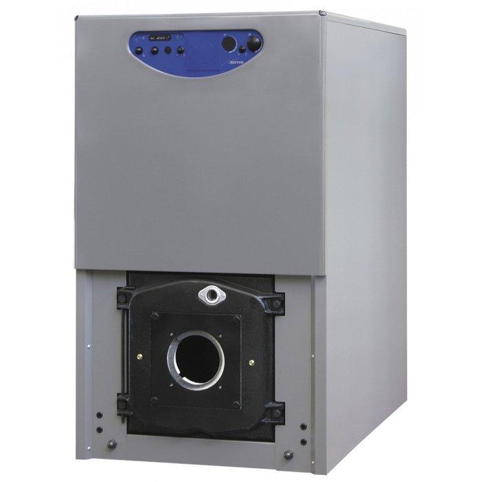 Котел Sime 1R7 OF70 кВт<br>Соответствующий современным потребительским нуждам напольный котел Sime (Сайм) 1R7 OF представляет собой универсальное отопительное устройство, которое может работать как с жидким топливом, так и на газе. Представленная модель отличается автоматической системой управления и принудительной тягой. Закрытая камера сгорания позволяет значительно упростить установку.<br>Особенности напольных газовых котлов оборудования от компании Sime серии 1R_2R OF-FR:<br><br>Напольный котёл для работы с вентиляторной дизельной или газовой горелкой;<br>Теплообменник из эвтектического чугуна с высокими теплоаккумулирующими свойствами;<br>Высокопроизводительный трёхходовой теплообменник обеспечивает тихую и эффективную работу;<br>Корпус котла состоит из чугунных секций соединённых при помощи конических ниппелей;<br>Чугунный теплообменник изолирован слоем теплоизоляции на алюминиевой невоспламеняющейся основе;<br>Высокая эффективность благодаря качеству чугунного теплообменника и усовершенствованной изоляции корпуса котла.<br>Возможность установки погодозависимой автоматики (опция);<br>Предусмотрено подключение комнатного термостата;<br>Возможность модульной установки нескольких котлов;<br>Возможность объединения в каскадную систему при помощи электронного блока (опция).<br>Возможность подключения внешнего накопительного бойлера.<br>Термометр расположен на лицевой панели котла;<br>Аварийный термостат максимальной температуры котла вынесен на лицевую панель.<br>Рациональная конструкция обеспечивает простоту монтажа и техобслуживания;<br>Поставляется в разобранном виде: чугунный теплообменник (в собранном виде) и облицовка котла.<br><br>В семействе современные напольные комбинированные котлы Sime представлены одноконтурные и двухконтурные модели из высококачественного чугуна. Данные агрегаты идеально подходят для работы на любых объектах и эффективно служат для отопления больших территорий. Управление и обслуживание котлов не вызывает трудностей и происходит с выс