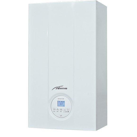 Котел Sime BRAVA SLIM 25 BF24 кВт<br>До 230 квадратных метров полезной площади способен обогреть двухконтурный газовый котел с погодозависимой автоматикой Sime (Сайм) BRAVA SLIM 25 BF в качестве основного топлива использующий природный газ, но опционально доступна покупка комплекта жиклеров &amp;mdash; для дальнейшей работы на сжиженном газе. Агрегат отличается раздельными теплообменниками, что является определенным преимуществом.<br>Особенности отопительного оборудования от компании Sime серии BRAVA:<br><br>Модель OF: открытая камера сгорания<br>Модель BF: закрытая камера сгорания<br>Информативный ЖК дисплей (7 символов) с подсветкой<br>Интерфейс поддерживает протокол &amp;laquo;OPEN THERM&amp;raquo;<br>Два теплообменника: на отопление (медный) и ГВС (стальной)<br>Внешняя поверхность теплообменника покрыта антикоррозионным составом<br>Камера сгорания выполнена из стали с антикоррозионным алюминиевым покрытием и изолирована внутри экологическим материалом<br>Возможность использования устройств дистанционного управления и погодозависимого регулирования<br>Для калибровки работы котла предусмотрена функция &amp;laquo;кривых отопления&amp;raquo;<br>Возможность эксплуатации как на сжиженном, так и на природном газе (при условии использования специального комплекта).<br>Защита от замерзания<br>Система антиблокировки насоса (насос включается на несколько секунд каждые 24 часа простоя)<br>Встроенный байпас в гидравлический блок<br>Постциркуляция насоса<br>Ионизационный контроль пламени горелки<br>Система самодиагностики (постоянный контроль основных узлов котла)<br>Предохранительный клапан в контуре отопления<br>Датчик давления теплоносителя<br>Датчик контроля тяги.<br><br>Настенные котлы Sime серии BRAVA представляют собой линейку высокопроизводительного газового отопительного оборудования, каждая из моделей которой оснащена высокотехнологичной современной системой управления для комфортной и безопасной эксплуатации. Котлы отлично служат в бытовых современных условиях и мо
