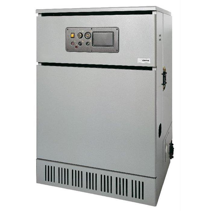 Котел Sime RS 129 MK II100 кВт<br>Sime (Сайм) RS 129 MK II &amp;mdash; это модель газового одноконтурного котла для размещения на полу, который имеет открытую камеру сгорания. Данное устройство используется&amp;nbsp; для организации экономичного отопления в помещениях жилого и не жилого назначения (индивидуальные дома или складские и промышленные сооружения), а при установке бойлера косвенного нагрева &amp;mdash; и для ГВС.<br>Особенности напольных газовых котлов оборудования от компании Sime серии RMG MK.II:<br><br>Газовый напольный котёл с открытой камерой сгорания;<br>Теплообменник из эвтектического чугуна с высокими теплоаккумулирующими свойствами;<br>Инжекционная двухступенчатая горелка &amp;laquo;Multigas&amp;raquo; из нержавеющей стали;<br>Электрический розжиг с системой контроля горения на базе ионизационного электрода;<br>Возможность эксплуатации как на сжиженном, так и на природном газе (при условии использования специального комплекта);<br>Высокая эффективность благодаря качеству чугунного теплообменника и усовершенствованной изоляции корпуса котла.<br>Возможность установки погодозависимой автоматики (опция);<br>Предусмотрено подключение комнатного термостата;<br>Возможность модульной установки нескольких котлов;<br>Возможность объединения в каскадную систему при помощи электронного блока Honeywell.<br>Возможность подключения внешнего накопительного бойлера.<br>Система газораспределения Honeywell обеспечивает безопасную работу котла;<br>Индикация сбоев в работе горелки;<br>Аварийные термостаты дымоудаления и максимальной температуры котла вынесены на лицевую панель.<br>Рациональная конструкция обеспечивает простоту монтажа и техобслуживания;<br>Подключение трубопроводов слева или справа от котла;<br>Поставляется в сборе в деревянной обрешетке.<br><br>Несложные в эксплуатации газовые напольные котлы Sime серии RS MK II &amp;ndash; это профессиональные отопительные устройства, изготовленные из долговечного чугуна и оборудованные новейшей комплектацией. Пред