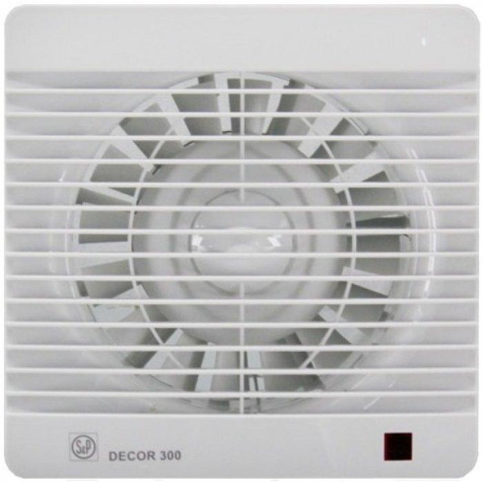 Вентилятор Soler &amp; Palau Decor 300CHВытяжки для ванной<br>Soler   Palau Decor 300CH &amp;mdash; это еще одна модель вытяжного вентилятора от испанского производителя. Данный агрегат укомплектован датчиком влажности. Устройство может эффективно использоваться как в бытовых помещениях, так и в промышленных или коммерческих. Вентилятор исполнен в привлекательном дизайне с корпусом белого цвета.&amp;nbsp;<br>Особенности и преимущества вентиляторов Soler   Palau представленной серии:<br><br>Предназначены для решения проблем вентиляции в ванных комнатах, санузлах и других небольших помещениях.<br>Могут устанавливаться на стене или потолке.<br>Обладают компактной конструкцией, привлекательным внешним видом и низким уровнем шума.<br>Двигатель класс II, IP44, имеет защиту от попадания влаги и перегрева.<br>В комплекте к вентилятору поставляются крепежи и уплотнительная полоска.<br>При изготовлении учитывались международные стандарты ISO9001.<br><br>Модификации:<br><br>S&amp;nbsp;- Стандартная модель данной серии.<br>C&amp;nbsp;- Модель оснащена клапаном обратного хода.<br>Z&amp;nbsp;- Модель оснащена шарикоподшипниками со смазкой достаточной до конца срока службы (до 30.000 часов). Специально рекомендуется для установки в жилых домах, торговых и промышленных помещениях, обладающих повышенной опасностью коррозии.<br>R&amp;nbsp;- Модель оснащена регулируемым таймером, который после выключения индикатора поддерживает работу вентилятора на протяжении нескольких минут.<br>H&amp;nbsp;- Модель оснащена датчиком влажности.<br>D&amp;nbsp;- Модель оснащена пассивным приемником инфракрасного излучения с радиусом приема 4 м.<br><br>Накладные вентиляторы Soler   Palau серии Decor &amp;mdash; это широкий модельный ряд приборов для бытовых и коммерческих помещений. Семейство представлено моделями с различной комплектацией: стандартными, оснащенными таймером, датчиком влажности, ИК-приемником. Серия включает вытяжные накладные вентиляторы трех типоразмеров: для воздуховодов 100 мм, 120 