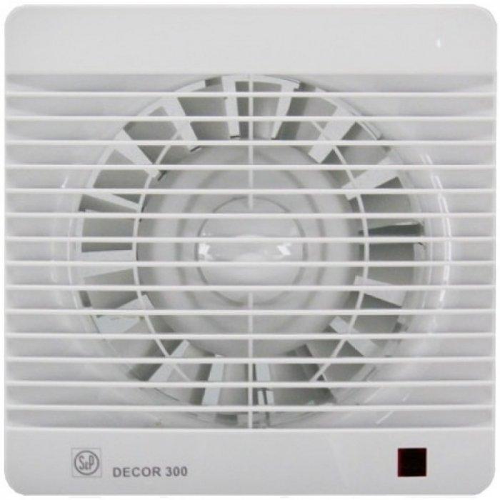 Вентилятор Soler &amp; Palau Decor 300CRВытяжки для ванной<br>Благодаря наличию регулируемого таймера вытяжной вентилятор Soler   Palau Decor 300CR может задерживать время отключения. Такое решение намного экономичнее чем базовая модель без таймера. Кроме того, использованием вытяжного вентилятора с таймером эффективнее, так как происходит более тщательное удаление воздуха.&amp;nbsp;<br>&amp;nbsp;<br>Особенности и преимущества вентиляторов Soler   Palau представленной серии:<br><br>Предназначены для решения проблем вентиляции в ванных комнатах, санузлах и других небольших помещениях.<br>Могут устанавливаться на стене или потолке.<br>Обладают компактной конструкцией, привлекательным внешним видом и низким уровнем шума.<br>Двигатель класс II, IP44, имеет защиту от попадания влаги и перегрева.<br>В комплекте к вентилятору поставляются крепежи и уплотнительная полоска.<br>При изготовлении учитывались международные стандарты ISO9001.<br><br>Модификации:<br><br>S&amp;nbsp;- Стандартная модель данной серии.<br>C&amp;nbsp;- Модель оснащена клапаном обратного хода.<br>Z&amp;nbsp;- Модель оснащена шарикоподшипниками со смазкой достаточной до конца срока службы (до 30.000 часов). Специально рекомендуется для установки в жилых домах, торговых и промышленных помещениях, обладающих повышенной опасностью коррозии.<br>R&amp;nbsp;- Модель оснащена регулируемым таймером, который после выключения индикатора поддерживает работу вентилятора на протяжении нескольких минут.<br>H&amp;nbsp;- Модель оснащена датчиком влажности.<br>D&amp;nbsp;- Модель оснащена пассивным приемником инфракрасного излучения с радиусом приема 4 м.<br><br>Накладные вентиляторы Soler   Palau серии Decor &amp;mdash; это широкий модельный ряд приборов для бытовых и коммерческих помещений. Семейство представлено моделями с различной комплектацией: стандартными, оснащенными таймером, датчиком влажности, ИК-приемником. Серия включает вытяжные накладные вентиляторы трех типоразмеров: для воздуховодов 100 мм, 120 мм, 150 
