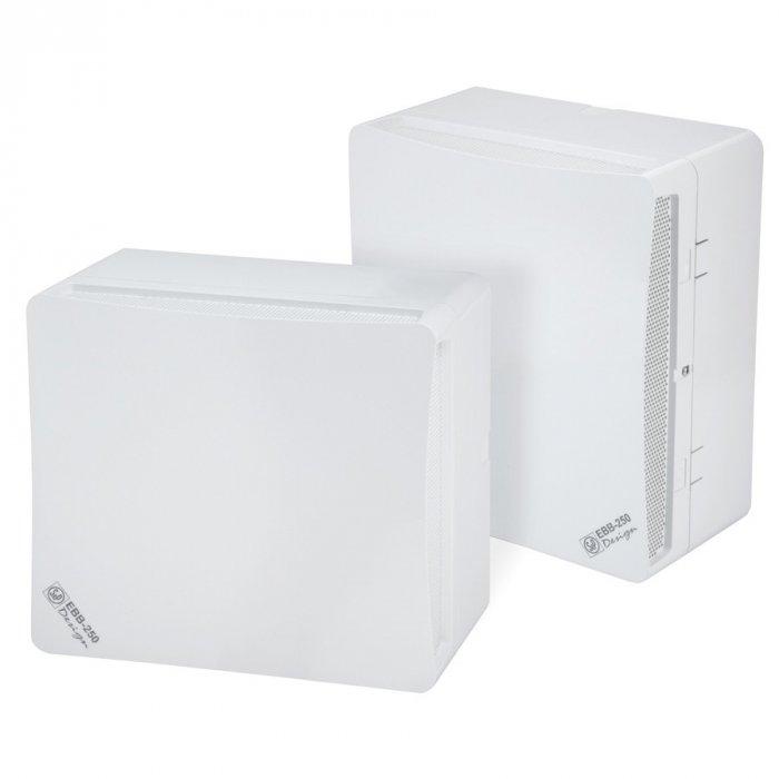 Вентилятор Soler &amp; Palau EBB-250 S DESIGN (230V 50)Вытяжки для ванной<br>Накладной вентилятор Soler   Palau EBB-250 S DESIGN (230V 50) обладает отличными производственными характеристиками и стильным дизайном. Его корпус выполнен из современного пластика, двигатель имеет 1 мощную скорость работы. Эта модель имеет электронный тип управления, таймер и обратный клапан. Устройство выполнено в белом цвете, имеет долгий срок службы.&amp;nbsp; &amp;nbsp;&amp;nbsp;<br>Особенности и преимущества вентиляторов Soler   Palau представленной серии:<br><br>Бытовые центробежные вентиляторы предназначены для использования в системах вентиляции с большой протяженностью воздуховодов.<br>Вентиляторы комплектуются рабочими колесами с загнутыми вперед лопатками и одно- фазными электродвигателями (230В-50Гц), класс изоляции B.<br>Для удобства пользователя вентиляторы могут оснащаться таймером или гигростатом.<br>Рабочая температура от 0&amp;deg;С до +40&amp;deg;С.<br><br>Модификации:<br><br>S &amp;mdash; Стандартная модель.<br>T &amp;mdash; Модель с регулируемым таймером.<br>HT &amp;mdash; Модель с гигростатом и регулируемым таймером.<br>М &amp;mdash; Модель со шнуровым выключателем.<br><br>EB/EBB &amp;mdash; это еще одна линейка вытяжных вентиляторов от испанского бренда Soler   Palau. Если воздуховоды в системе вентилирования имеют большую длину, то данное семейство &amp;mdash; это идеальный выбор. Конструкция приборов тщательно продумана и отличается прекрасной эргономикой. Вентиляторы тихие, удобные в установке и уходе, надежные и долговечные.<br><br>Страна: Испания<br>Производитель: Испания<br>Мощность, Вт: 47/72<br>Поток воздуха мsup3; ч: 175/250<br>Частота вращения, об/мин: 1380/1920<br>Колво скоростей: 2<br>Управление: Механическое<br>Уровень шума, дБа: 43/51<br>Таймер: Нет<br>Гигрометр: Нет<br>Регулировка высоты: Нет<br>Влагозащищенный корпус: IP44<br> диаметр установки, мм: 100<br>Питание, Вт: 230<br>Габариты ВхШхГ, мм: 278x278x162,5<br>Вес, кг: 3<br>Гарантия: 1 год<br>Ширин
