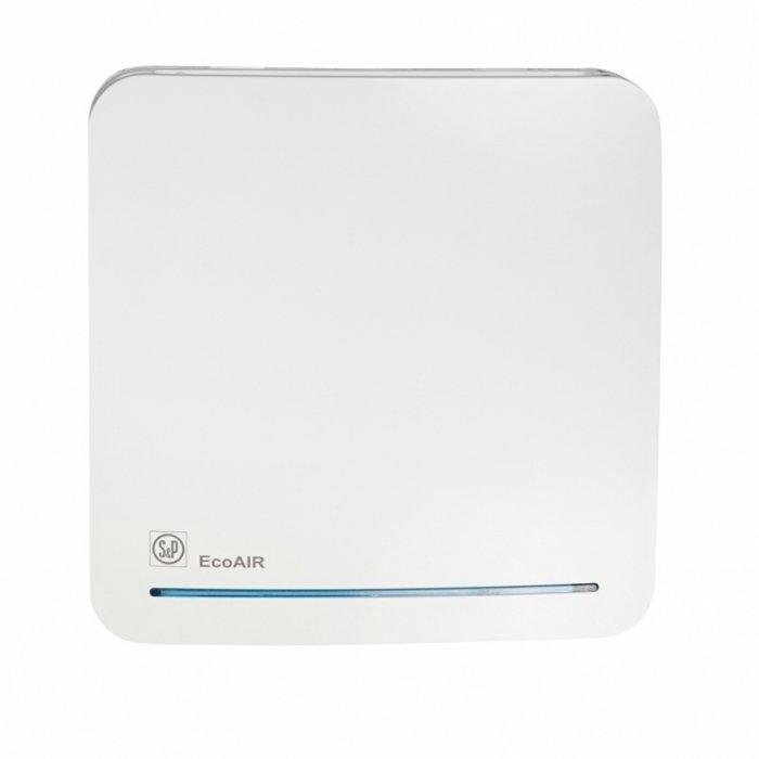 Вентилятор Soler &amp; Palau ECOAIR 100DLCВытяжки для ванной<br>Soler   Palau ECOAIR 100DLC   это энергоэффективная и современная вентиляционная система. Модель оборудована системой обратного хода, таймером и датчиком движения. Таймер обеспечивает работу устройства на протяжении 15 минут после отключения вентилятора от сети, а датчик реагирует на движение в радиусе 4 метров, после чего автоматический запускает двигатель устройства.<br>Особенности и преимущества вентиляторов Soler   Palau представленной серии:<br><br>Постоянная работа при сниженном расходе воздуха с возможностью переключения на максимальную производительность по сигналу внешнего или внутреннего выключателя.<br>Периодическая работа с возможностью регулирования скорости (с внутреннего потенциометра). Вентиляторы ECOAIR комплектуются электродвигателями постоянного тока (класс защиты IPX4, класс герметичности II), которые крепятся к корпусу при помощи специальных резиновых  сайлент-блоков , что обеспечивает очень низкий уровень шума. Использование подобных электродвигателей существенно снижает расходы на эксплуатацию вентилятора. Вентиляторы подключаются к однофазной сети питания с параметрами 230В-50Гц. Вентиляторы поставляются в комплекте с обратным клапаном, которые следует установить на вентиляторе, если предполагается его эксплуатация в периодическом режиме<br>Рабочая температура воздуха от 0 С до +40 С.<br><br>Модификации:<br><br>SLC   постоянная работа, периодическая работа.<br>TLC   регулируемый таймер, постоянная работа, периодическая работа.<br>HLC   гигростат и таймер, постоянная работа, периодическая работа.<br>MLC   гигростат и шнуровой выключатель, постоянная работа, периодическая работа.<br>DLC   датчик движения и таймер, постоянная работа, периодическая работа.<br>17VDC   специально для душевых и ванных комнат. Напряжение питания вентилятора составляет 17В. Для работы требуется понижающий трансформатор.<br><br>ECOAIR   это высокая производительность, отличная энергоэффективность и минимум