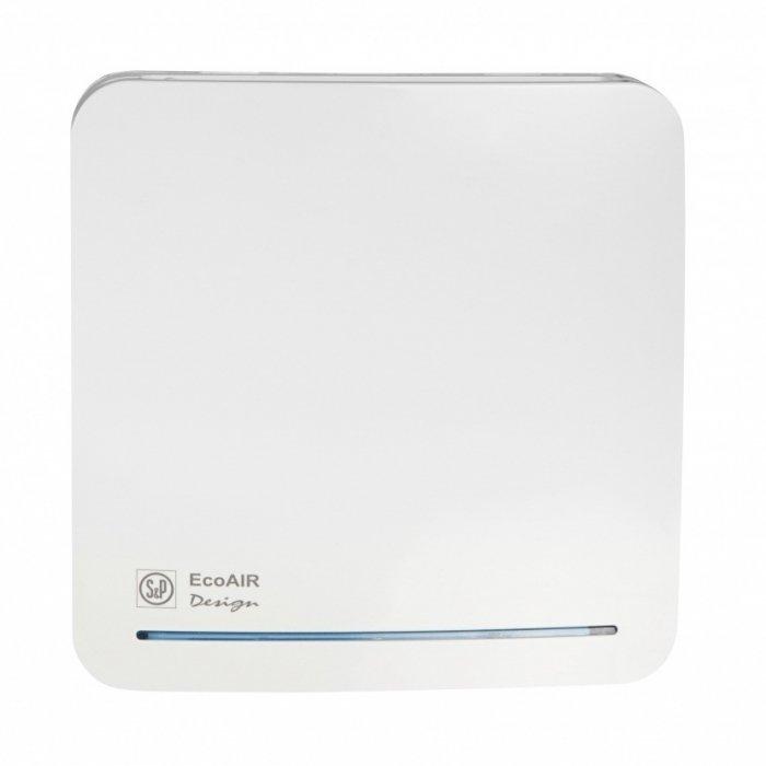 Вентилятор Soler &amp; Palau ECOAIR DESIGN 100SВытяжки для ванной<br>Soler   Palau ECOAIR DESIGN 100S   это модель энергосберегающей вентиляционной системы, которая работает в постоянном режиме пониженного расхода воздуха и переключается в режим максимальной скорости по сигналу переключателя. Допускается настенная или потолочная установка вентилятора в помещениях с повышенными требованиями к оформлению. <br>Особенности и преимущества вентиляторов Soler   Palau представленной серии:<br><br>Постоянная работа при сниженном расходе воздуха с возможностью переключения на максимальную производительность по сигналу внешнего или внутреннего выключателя.<br>Периодическая работа с возможностью регулирования скорости (с внутреннего потенциометра). Вентиляторы ECOAIR комплектуются электродвигателями постоянного тока (класс защиты IPX4, класс герметичности II), которые крепятся к корпусу при помощи специальных резиновых  сайлент-блоков , что обеспечивает очень низкий уровень шума. Использование подобных электродвигателей существенно снижает расходы на эксплуатацию вентилятора. Вентиляторы подключаются к однофазной сети питания с параметрами 230В-50Гц. Вентиляторы поставляются в комплекте с обратным клапаном, которые следует установить на вентиляторе, если предполагается его эксплуатация в периодическом режиме<br>Рабочая температура воздуха от 0 С до +40 С.<br><br>Модификации:<br><br>SLC   постоянная работа, периодическая работа.<br>TLC   регулируемый таймер, постоянная работа, периодическая работа.<br>HLC   гигростат и таймер, постоянная работа, периодическая работа.<br>MLC   гигростат и шнуровой выключатель, постоянная работа, периодическая работа.<br>DLC   датчик движения и таймер, постоянная работа, периодическая работа.<br>17VDC   специально для душевых и ванных комнат. Напряжение питания вентилятора составляет 17В. Для работы требуется понижающий трансформатор.<br><br>ECOAIR   это высокая производительность, отличная энергоэффективность и минимум шума, облаченные в привлека