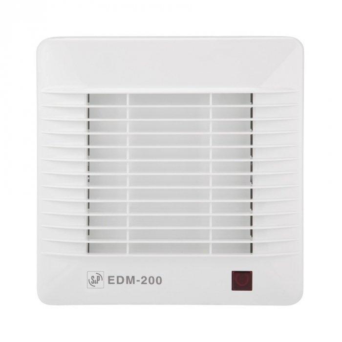 Вентилятор Soler &amp; Palau EDM 200SВытяжки для ванной<br>Накладной вентилятор Soler   Palau EDM 200S специально создан для вентиляции небольших помещений. Он идеально подходит для ванны, санузла, подсобки. Устройство выполнено из прочного пластика, имеет защитную решетку винта. Корпус обладает влагозащитными свойствами. Модель легко крепится на любую стену или потолок, оснащена световым индикатором, имеет механическое управление.&amp;nbsp;&amp;nbsp; &amp;nbsp; &amp;nbsp; &amp;nbsp;<br>Особенности и преимущества вентиляторов Soler   Palau представленной серии:<br><br>Бытовые осевые вентиляторы серии EDM предназначены для решения проблем вентиля- ции в ванных комнатах, санузлах и небольших помещениях.<br>Вентиляторы EDM изготавливаются из высококачественного пластика и комплектуются однофазными электродвигателями (230В-50Гц), класс изоляции В, со встроенной термозащитой.<br>Вентиляторы имеются II класс герметичности, класс защиты IP 44 и рабочую температуру воздуха от 0&amp;deg;С до +40&amp;deg;С.<br><br>Модификации:<br><br>S &amp;mdash; Базовая модель.<br>С &amp;mdash; Модель оснащена обратным клапаном.<br>Z &amp;mdash; Модель с шариковыми подшипниками, не требующими обслуживания.<br>T &amp;mdash; Модель оснащена таймером с фиксированным временем срабатывания (8 мин.).<br>R &amp;mdash; Модель оснащена регулируемым таймером, который позволяет вентилятору работать заданное время после выключения.<br>H &amp;mdash; Модель оснащена гигростатом (датчиком влажности).<br>E &amp;mdash; Модель оснащена фотоэлементом, который включает вентилятор при наличии света в помещении.<br>M &amp;mdash; Модель оснащена шнуровым выключателем.<br>V &amp;mdash; Модель поставляется с комплектом принадлежностей для оконного монтажа.<br>Blister &amp;mdash; Модель поставляется в воздушно-пузырьковой упаковке.<br>L &amp;mdash; Модель разработана для установки в прямоугольных отверстиях, вместо обычной вентиляционной решетки.<br><br>EDM &amp;mdash; идеальное решение проблемы вентилирования ванно