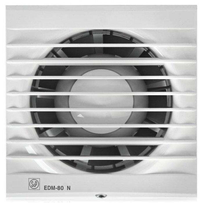 Вентилятор Soler &amp; Palau EDM 80NВытяжки для ванной<br>Стильный вентилятор Soler   Palau EDM 80N создан для разных систем бытовой вентиляции. Он абсолютно легко монтируется, имеет малошумный двигатель, защитную решетку винта. Модель обладает внешне эстетичным видом и высокую функциональность. Устройство выполнено из прочного пластика, крепится на любую стену или потолок, имеет долгий срок службы.&amp;nbsp;&amp;nbsp;&amp;nbsp; &amp;nbsp; &amp;nbsp;&amp;nbsp;<br>Особенности и преимущества вентиляторов Soler   Palau представленной серии:<br><br>Бытовые осевые вентиляторы серии EDM предназначены для решения проблем вентиля- ции в ванных комнатах, санузлах и небольших помещениях.<br>Вентиляторы EDM изготавливаются из высококачественного пластика и комплектуются однофазными электродвигателями (230В-50Гц), класс изоляции В, со встроенной термозащитой.<br>Вентиляторы имеются II класс герметичности, класс защиты IP 44 и рабочую температуру воздуха от 0&amp;deg;С до +40&amp;deg;С.<br><br>Модификации:<br><br>S &amp;mdash; Базовая модель.<br>С &amp;mdash; Модель оснащена обратным клапаном.<br>Z &amp;mdash; Модель с шариковыми подшипниками, не требующими обслуживания.<br>T &amp;mdash; Модель оснащена таймером с фиксированным временем срабатывания (8 мин.).<br>R &amp;mdash; Модель оснащена регулируемым таймером, который позволяет вентилятору работать заданное время после выключения.<br>H &amp;mdash; Модель оснащена гигростатом (датчиком влажности).<br>E &amp;mdash; Модель оснащена фотоэлементом, который включает вентилятор при наличии света в помещении.<br>M &amp;mdash; Модель оснащена шнуровым выключателем.<br>V &amp;mdash; Модель поставляется с комплектом принадлежностей для оконного монтажа.<br>Blister &amp;mdash; Модель поставляется в воздушно-пузырьковой упаковке.<br>L &amp;mdash; Модель разработана для установки в прямоугольных отверстиях, вместо обычной вентиляционной решетки.<br><br>EDM &amp;mdash; идеальное решение проблемы вентилирования ванной комнаты. Устройства ра