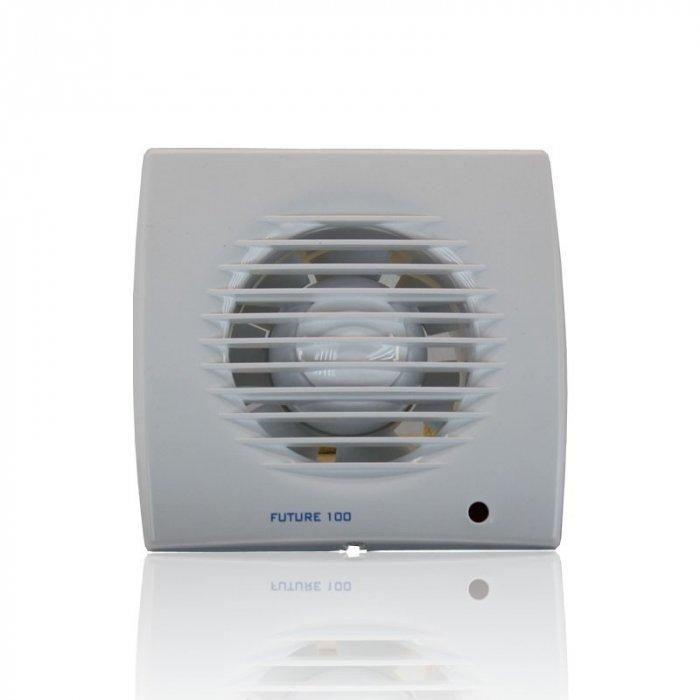 Вентилятор Soler &amp; Palau Future-100TВытяжки для ванной<br>Бытовой вентилятор Soler   Palau Future-100T идеально сочетает в себе современный дизайн и высокую работоспособность. Корпус модели выполнен из прочного пластика с влагозащитными свойствами, а двигатель имеет высокую мощность.  Устройство оснащено таймером, задержкой отключения, световым индикатором. Вентилятор имеет современный дизайн, подходит под любое помещение.  <br>Семейство Future представлено бытовыми вентиляторами для вытяжки воздуха, разработанными торговой маркой Soler   Palau   известным испанским производителем. Эти небольшие устройства могут качественно обслуживать санузлы и кухни, обеспечивая прекрасную вентиляцию. Серия весьма разнообразна и представлена несколькими модификациями, отличающимися функциональными возможностями.<br>Особенности и преимущества вентиляторов Soler   Palau представленной серии:<br><br>Предназначен для установки в ванных комнатах, санузлах, жилых, офисных и общественных помещениях.<br>Вместе с вентилятором поставляются крепежные элементы и уплотнительная полоска.<br>Вентилятор монтируется на стене, в отверстии вентиляционной шахты, в подвесном потолке.<br>Влагозащита IP44.<br>Класс электробезопасности II.<br><br>Модификации:<br><br>PIR. Световой индикатор, регулируемый таймер (2-20 мин), датчик движения.<br>T. Регулируемый таймер (2-20 мин).<br>TH. Регулируемый таймер (2.-20 мин), датчик контроля влажности.<br><br><br>Страна: Испания<br>Производитель: Испания<br>Мощность, Вт: 13<br>Поток воздуха мsup3; ч: 95<br>Частота вращения, об/мин: None<br>Колво скоростей: 1<br>Управление: Автоматическое<br>Уровень шума, дБа: 40<br>Таймер: Есть<br>Гигрометр: Нет<br>Регулировка высоты: Нет<br>Влагозащищенный корпус: IP44<br> диаметр установки, мм: 100<br>Питание, Вт: 230<br>Габариты ВхШхГ, мм: 158x158x98<br>Вес, кг: 1<br>Гарантия: 1 год<br>Ширина мм: 158<br>Высота мм: 158<br>Глубина мм: 98