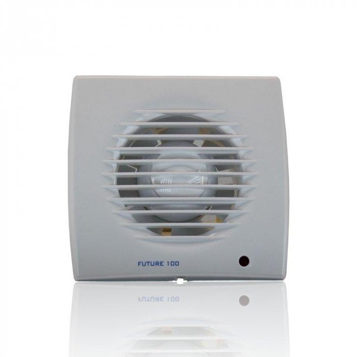 Вентилятор Soler &amp; Palau Future-100 PIRВытяжки для ванной<br>Осевой вентилятор Soler   Palau Future-100 PIR линейки Future выполнен в стильном дизайне и имеет отличные рабочие характеристики. Устройство сделано из современного пластика белого цвета, имеет мощный двигатель, влагозащитный корпус, защитную решетку винта. Модель оснащена световым индикатором, регулируемым таймером, датчиками движения.<br>Семейство Future представлено бытовыми вентиляторами для вытяжки воздуха, разработанными торговой маркой Soler   Palau   известным испанским производителем. Эти небольшие устройства могут качественно обслуживать санузлы и кухни, обеспечивая прекрасную вентиляцию. Серия весьма разнообразна и представлена несколькими модификациями, отличающимися функциональными возможностями.<br>Особенности и преимущества вентиляторов Soler   Palau представленной серии:<br><br>Предназначен для установки в ванных комнатах, санузлах, жилых, офисных и общественных помещениях.<br>Вместе с вентилятором поставляются крепежные элементы и уплотнительная полоска.<br>Вентилятор монтируется на стене, в отверстии вентиляционной шахты, в подвесном потолке.<br>Влагозащита IP44.<br>Класс электробезопасности II.<br><br>Модификации:<br><br>PIR. Световой индикатор, регулируемый таймер (2-20 мин), датчик движения.<br>T. Регулируемый таймер (2-20 мин).<br>TH. Регулируемый таймер (2.-20 мин), датчик контроля влажности.<br><br><br>Страна: Испания<br>Производитель: Испания<br>Мощность, Вт: 13<br>Поток воздуха мsup3; ч: 95<br>Частота вращения, об/мин: None<br>Колво скоростей: 1<br>Управление: Автоматическое<br>Уровень шума, дБа: 40<br>Таймер: Есть<br>Гигрометр: Нет<br>Регулировка высоты: Нет<br>Влагозащищенный корпус: IP44<br> диаметр установки, мм: 100<br>Питание, Вт: 230<br>Габариты ВхШхГ, мм: 158x158x98<br>Вес, кг: 1<br>Гарантия: 1 год<br>Ширина мм: 158<br>Высота мм: 158<br>Глубина мм: 98