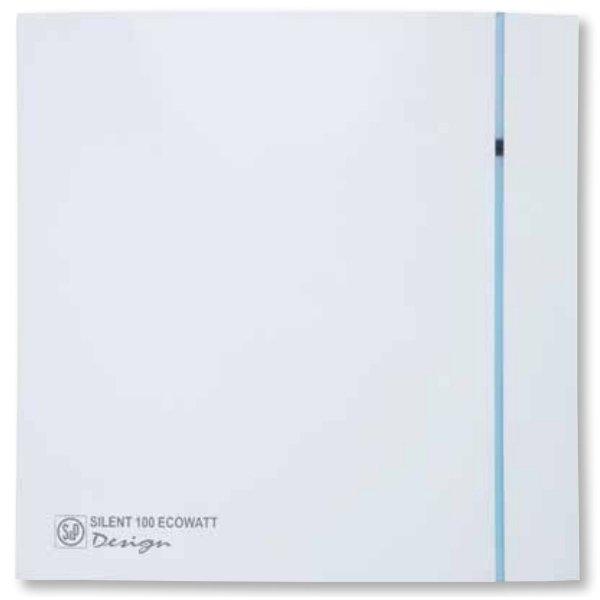 Вентилятор Soler &amp; Palau SILENT-100 CHZ DESIGN ECOWATTВытяжки для ванной<br>Soler   Palau SILENT-100 CHZ DESIGN ECOWATT &amp;ndash; это модель бесшумного бытового вентилятора известного испанского производителя. Современный и универсальный дизайн конструкции позволяет устанавливать вентилятор в любом помещении. Модель оборудована системой обратного хода, шарикоподшипниками и датчиком влажности, что обеспечивает долгий срок эксплуатации вентилятора при минимальном уходе.<br>Особенности и преимущества вентиляторов Soler   Palau представленной серии:<br><br>Разработаны специально для решения проблем вентиляции в ванных комнатах, санузлах и других небольших помещениях.<br>Электродвигатель крепится к корпусу при помощи резиновых &amp;laquo;сайлент-блоков&amp;raquo;, которые предотвращают передачу вибраций и шума от двигателя к корпусу вентилятора. Также, снижению шума способствует особая аэродинамическая форма передней решетки вентилятора.<br>Вентиляторы комплектуются шариковыми подшипниками &amp;ndash; это снижает шум, увеличивает срок службы и позволяет устанавливать вентилятор в любом положении. Срок службы вентиляторов SILENT составляет более 30000 часов.<br>Модельный ряд вентиляторов SILENT состоит из трех типоразмеров: SILENT-100, SILENT-200 и SILENT-300.<br><br>Модификации:<br><br>C &amp;mdash; Модель оснащена обратным клапаном.<br>Z &amp;mdash; Модель с шариковыми подшипниками, не требующими обслуживания (срок службы до 30000 часов).<br>R &amp;mdash; Модель оснащена регулируемым таймером, который позволяет вентиля- тору работать заданное время, после выключения.<br>H &amp;mdash; Модель оснащена гигростатом (датчиком влажности).<br>D &amp;mdash; Модель оснащена датчиком движения (радиус действия около 4 м).<br><br>Осевые вентиляторы из серии SILENT от торговой марки Soler   Palau &amp;mdash; это тихие и компактные помощники для ванной комнаты и любого другого помещения, где необходимо организовать вытяжку воздуха. Модели эргономичны и отличатся привлекательным