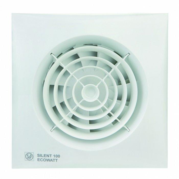 Вентилятор Soler &amp; Palau SILENT-100 CHZ ECOWATTВытяжки для ванной<br>Модель бесшумного вентилятора Soler   Palau SILENT-100 CHZ ECOWATT идеально подходит для ванной комнаты и помещений с повышенным уровнем влажности. Вентилятор оснащен защитой от проникновения пыли и датчиком влажности. Бесшумная работа двигателя, удобное управление и возможность как настенной, так и потолочной установки, обеспечивает комфортное использование устройства.&amp;nbsp;<br>Особенности и преимущества вентиляторов Soler   Palau представленной серии:<br><br>Разработаны специально для решения проблем вентиляции в ванных комнатах, санузлах и других небольших помещениях.<br>Электродвигатель крепится к корпусу при помощи резиновых &amp;laquo;сайлент-блоков&amp;raquo;, которые предотвращают передачу вибраций и шума от двигателя к корпусу вентилятора. Также, снижению шума способствует особая аэродинамическая форма передней решетки вентилятора.<br>Вентиляторы комплектуются шариковыми подшипниками &amp;ndash; это снижает шум, увеличивает срок службы и позволяет устанавливать вентилятор в любом положении. Срок службы вентиляторов SILENT составляет более 30000 часов.<br>Модельный ряд вентиляторов SILENT состоит из трех типоразмеров: SILENT-100, SILENT-200 и SILENT-300.<br><br>Модификации:<br><br>C &amp;mdash; Модель оснащена обратным клапаном.<br>Z &amp;mdash; Модель с шариковыми подшипниками, не требующими обслуживания (срок службы до 30000 часов).<br>R &amp;mdash; Модель оснащена регулируемым таймером, который позволяет вентиля- тору работать заданное время, после выключения.<br>H &amp;mdash; Модель оснащена гигростатом (датчиком влажности).<br>D &amp;mdash; Модель оснащена датчиком движения (радиус действия около 4 м).<br><br>Осевые вентиляторы из серии SILENT от торговой марки Soler   Palau &amp;mdash; это тихие и компактные помощники для ванной комнаты и любого другого помещения, где необходимо организовать вытяжку воздуха. Модели эргономичны и отличатся привлекательным внешним обликом, что д