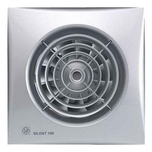 Вентилятор Soler &amp; Palau SILENT-100 CHZ SILVERВытяжки для ванной<br>Soler   Palau SILENT-100 CHZ SILVER   решение для помещений с повышенной влажностью, площадь которых не превышает 8м2. Модель оснащена системой обратного хода, защитой от проникновения пыли и датчиком регулировки давления, благодаря которым вентилятор не нуждается в дополнительном обслуживании. Тонкий корпус вентилятора Slimline серебряного цвета станет достойным украшением любого помещения.<br>Особенности и преимущества вентиляторов Soler   Palau представленной серии:<br><br>Разработаны специально для решения проблем вентиляции в ванных комнатах, санузлах и других небольших помещениях.<br>Электродвигатель крепится к корпусу при помощи резиновых  сайлент-блоков , которые предотвращают передачу вибраций и шума от двигателя к корпусу вентилятора. Также, снижению шума способствует особая аэродинамическая форма передней решетки вентилятора.<br>Вентиляторы комплектуются шариковыми подшипниками   это снижает шум, увеличивает срок службы и позволяет устанавливать вентилятор в любом положении. Срок службы вентиляторов SILENT составляет более 30000 часов.<br>Модельный ряд вентиляторов SILENT состоит из трех типоразмеров: SILENT-100, SILENT-200 и SILENT-300.<br><br>Модификации:<br><br>C   Модель оснащена обратным клапаном.<br>Z   Модель с шариковыми подшипниками, не требующими обслуживания (срок службы до 30000 часов).<br>R   Модель оснащена регулируемым таймером, который позволяет вентиля- тору работать заданное время, после выключения.<br>H   Модель оснащена гигростатом (датчиком влажности).<br>D   Модель оснащена датчиком движения (радиус действия около 4 м).<br><br>Осевые вентиляторы из серии SILENT от торговой марки Soler   Palau   это тихие и компактные помощники для ванной комнаты и любого другого помещения, где необходимо организовать вытяжку воздуха. Модели эргономичны и отличатся привлекательным внешним обликом, что делает их отличным выбором для объектом, где предъявляются повышенные требования