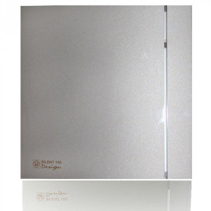 Вентилятор Soler &amp; Palau SILENT-100 CHZ SILVER DESIGN-3CВытяжки для ванной<br>Soler   Palau SILENT-100 CHZ SILVER DESIGN-3C   это настенно-потолочный вентилятор из серии SILENT от испанского производителя, который гармонично впишется в любое помещение, где есть жёсткие требования к дизайну. Экономичное и бесшумное устройство подойдет для ванных комнат и небольших помещений. Вентилятор оснащен светодиодным индикатором и регулируемым гигростатом. Срок эксплуатации более 30 000 часов. <br>Особенности и преимущества вентиляторов Soler   Palau представленной серии:<br><br>Разработаны специально для решения проблем вентиляции в ванных комнатах, санузлах и других небольших помещениях.<br>Электродвигатель крепится к корпусу при помощи резиновых  сайлент-блоков , которые предотвращают передачу вибраций и шума от двигателя к корпусу вентилятора. Также, снижению шума способствует особая аэродинамическая форма передней решетки вентилятора.<br>Вентиляторы комплектуются шариковыми подшипниками   это снижает шум, увеличивает срок службы и позволяет устанавливать вентилятор в любом положении. Срок службы вентиляторов SILENT составляет более 30000 часов.<br>Модельный ряд вентиляторов SILENT состоит из трех типоразмеров: SILENT-100, SILENT-200 и SILENT-300.<br><br>Модификации:<br><br>C   Модель оснащена обратным клапаном.<br>Z   Модель с шариковыми подшипниками, не требующими обслуживания (срок службы до 30000 часов).<br>R   Модель оснащена регулируемым таймером, который позволяет вентиля- тору работать заданное время, после выключения.<br>H   Модель оснащена гигростатом (датчиком влажности).<br>D   Модель оснащена датчиком движения (радиус действия около 4 м).<br><br>Осевые вентиляторы из серии SILENT от торговой марки Soler   Palau   это тихие и компактные помощники для ванной комнаты и любого другого помещения, где необходимо организовать вытяжку воздуха. Модели эргономичны и отличатся привлекательным внешним обликом, что делает их отличным выбором для объектом, где предъявляю