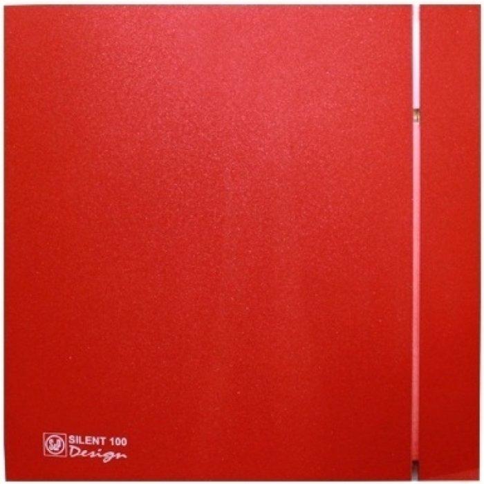 Вентилятор Soler &amp; Palau SILENT-100 CRZ RED DESIGN-4C (230V 50)Вытяжки для ванной<br>Soler   Palau SILENT-100 CRZ RED DESIGN-4C (230V 50)   это бытовой вентилятор с бесшумно работающим двигателем, который предназначен для обслуживания помещений с повышенным уровнем влажности, не превышающих 8 кв.м. Его современный дизайн и корпус красного цвета идеально подходит к любому, даже самому требовательному интерьеру. Модель имеет таймер, благодаря которому вентилятор продолжает свою работу в течение 2-15 минут после отключения от сети.<br>Особенности и преимущества вентиляторов Soler   Palau представленной серии:<br><br>Разработаны специально для решения проблем вентиляции в ванных комнатах, санузлах и других небольших помещениях.<br>Электродвигатель крепится к корпусу при помощи резиновых  сайлент-блоков , которые предотвращают передачу вибраций и шума от двигателя к корпусу вентилятора. Также, снижению шума способствует особая аэродинамическая форма передней решетки вентилятора.<br>Вентиляторы комплектуются шариковыми подшипниками   это снижает шум, увеличивает срок службы и позволяет устанавливать вентилятор в любом положении. Срок службы вентиляторов SILENT составляет более 30000 часов.<br>Модельный ряд вентиляторов SILENT состоит из трех типоразмеров: SILENT-100, SILENT-200 и SILENT-300.<br><br>Модификации:<br><br>C   Модель оснащена обратным клапаном.<br>Z   Модель с шариковыми подшипниками, не требующими обслуживания (срок службы до 30000 часов).<br>R   Модель оснащена регулируемым таймером, который позволяет вентиля- тору работать заданное время, после выключения.<br>H   Модель оснащена гигростатом (датчиком влажности).<br>D   Модель оснащена датчиком движения (радиус действия около 4 м).<br><br>Осевые вентиляторы из серии SILENT от торговой марки Soler   Palau   это тихие и компактные помощники для ванной комнаты и любого другого помещения, где необходимо организовать вытяжку воздуха. Модели эргономичны и отличатся привлекательным внешним обликом, что делает и