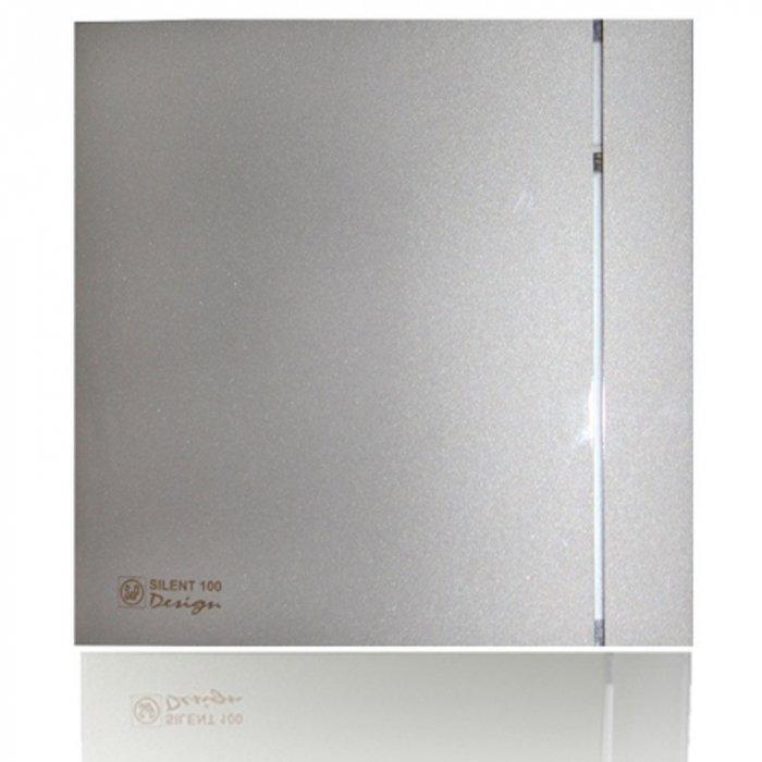 Вентилятор Soler &amp; Palau SILENT-100 CRZ SILVER DESIGN-3CВытяжки для ванной<br>Soler   Palau SILENT-100 CRZ SILVER DESIGN-3C   это модель современного бесшумного вентилятора, подходящая для помещений с уникальным интерьером. Установка вентилятора рекомендуется в ванных комнатах и небольших помещениях, с повышенным уровнем влажности. Конструкция оснащена таймером, обеспечивающим работу вентилятора на протяжении 15 минут после его отключения от сети. <br>Особенности и преимущества вентиляторов Soler   Palau представленной серии:<br><br>Разработаны специально для решения проблем вентиляции в ванных комнатах, санузлах и других небольших помещениях.<br>Электродвигатель крепится к корпусу при помощи резиновых  сайлент-блоков , которые предотвращают передачу вибраций и шума от двигателя к корпусу вентилятора. Также, снижению шума способствует особая аэродинамическая форма передней решетки вентилятора.<br>Вентиляторы комплектуются шариковыми подшипниками   это снижает шум, увеличивает срок службы и позволяет устанавливать вентилятор в любом положении. Срок службы вентиляторов SILENT составляет более 30000 часов.<br>Модельный ряд вентиляторов SILENT состоит из трех типоразмеров: SILENT-100, SILENT-200 и SILENT-300.<br><br>Модификации:<br><br>C   Модель оснащена обратным клапаном.<br>Z   Модель с шариковыми подшипниками, не требующими обслуживания (срок службы до 30000 часов).<br>R   Модель оснащена регулируемым таймером, который позволяет вентиля- тору работать заданное время, после выключения.<br>H   Модель оснащена гигростатом (датчиком влажности).<br>D   Модель оснащена датчиком движения (радиус действия около 4 м).<br><br>Осевые вентиляторы из серии SILENT от торговой марки Soler   Palau   это тихие и компактные помощники для ванной комнаты и любого другого помещения, где необходимо организовать вытяжку воздуха. Модели эргономичны и отличатся привлекательным внешним обликом, что делает их отличным выбором для объектом, где предъявляются повышенные требования к оформит