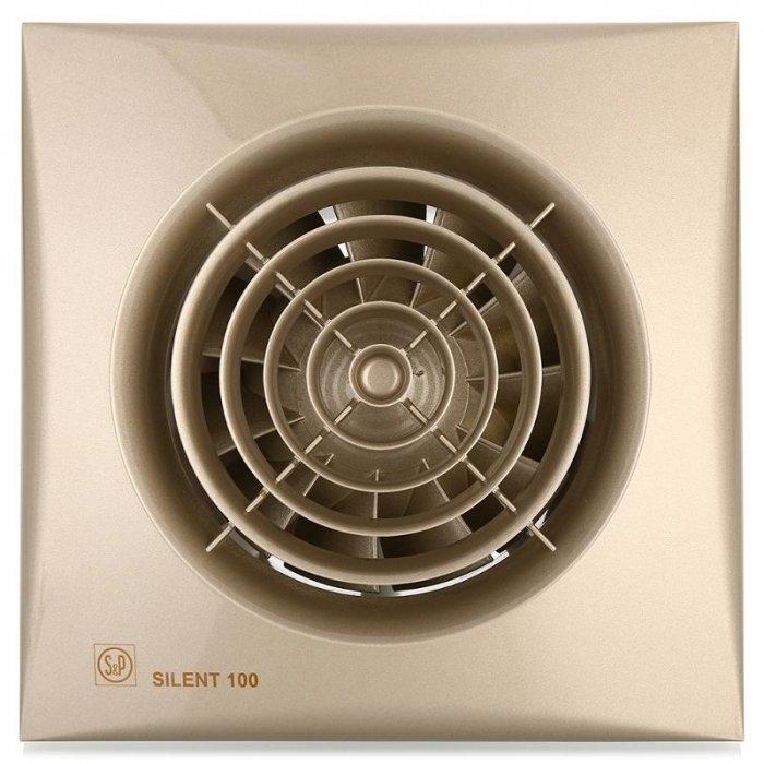 Вентилятор Soler &amp; Palau SILENT-100 CZ CHAMPAGNEВытяжки для ванной<br>Накладной вентилятор Soler   Palau SILENT-100 CZ CAMPAGINE имеет модное цветовое решение и высокую функциональность. Модель относится к очень тихим и практически не издает шума. Этот осевой вентилятор выполнен из литого пластика, он имеет надежный двигатель, обратный клапан, световой индикатор, гигростат. Он с легкостью крепится к любой стене или потолку, имеет большой срок службы.&amp;nbsp;<br>Особенности и преимущества вентиляторов Soler   Palau представленной серии:<br><br>Разработаны специально для решения проблем вентиляции в ванных комнатах, санузлах и других небольших помещениях.<br>Электродвигатель крепится к корпусу при помощи резиновых &amp;laquo;сайлент-блоков&amp;raquo;, которые предотвращают передачу вибраций и шума от двигателя к корпусу вентилятора. Также, снижению шума способствует особая аэродинамическая форма передней решетки вентилятора.<br>Вентиляторы комплектуются шариковыми подшипниками &amp;ndash; это снижает шум, увеличивает срок службы и позволяет устанавливать вентилятор в любом положении. Срок службы вентиляторов SILENT составляет более 30000 часов.<br>Модельный ряд вентиляторов SILENT состоит из трех типоразмеров: SILENT-100, SILENT-200 и SILENT-300.<br><br>Модификации:<br><br>C &amp;mdash; Модель оснащена обратным клапаном.<br>Z &amp;mdash; Модель с шариковыми подшипниками, не требующими обслуживания (срок службы до 30000 часов).<br>R &amp;mdash; Модель оснащена регулируемым таймером, который позволяет вентиля- тору работать заданное время, после выключения.<br>H &amp;mdash; Модель оснащена гигростатом (датчиком влажности).<br>D &amp;mdash; Модель оснащена датчиком движения (радиус действия около 4 м).<br><br>Осевые вентиляторы из серии SILENT от торговой марки Soler   Palau &amp;mdash; это тихие и компактные помощники для ванной комнаты и любого другого помещения, где необходимо организовать вытяжку воздуха. Модели эргономичны и отличатся привлекательным внешним о