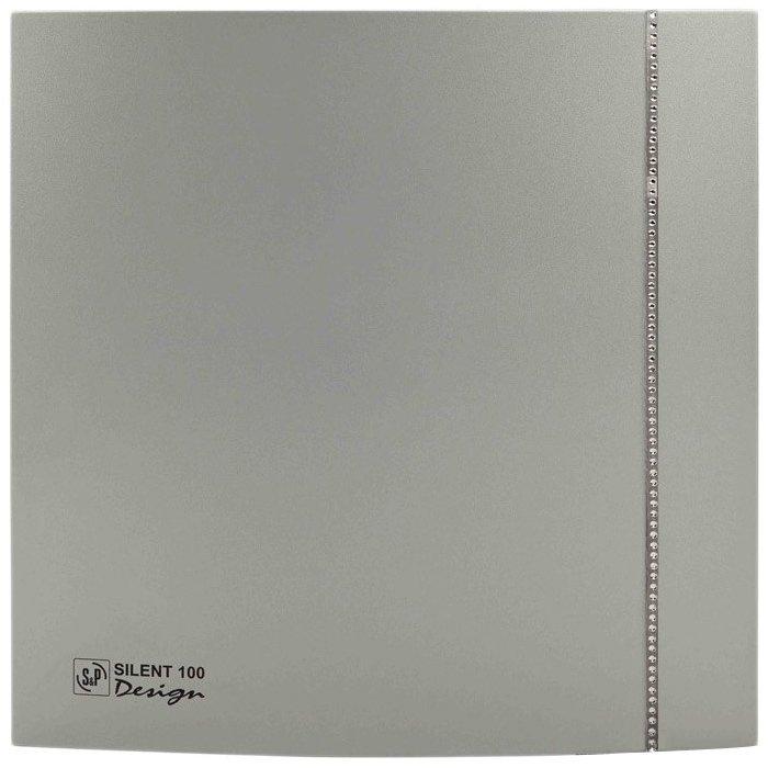 Вентилятор Soler &amp; Palau SILENT-100 CZ DESIGN SWAROVSKI (230V 50)Вытяжки для ванной<br>Soler   Palau SILENT-100 CZ DESIGN SWAROVSKI (230V 50) входит в серию бытового оборудования, чей современный дизайн послужит отличным дополнением в интерьере. Оригинальная модель вентилятора декорирована натуральными камнями Сваровски, что выгодно выделяет ее среди аналогичных устройств. Бесшумная работа двигателя и удобная система управления обеспечивают комфортное использование вентилятора.<br>Особенности и преимущества вентиляторов Soler   Palau представленной серии:<br><br>Разработаны специально для решения проблем вентиляции в ванных комнатах, санузлах и других небольших помещениях.<br>Электродвигатель крепится к корпусу при помощи резиновых &amp;laquo;сайлент-блоков&amp;raquo;, которые предотвращают передачу вибраций и шума от двигателя к корпусу вентилятора. Также, снижению шума способствует особая аэродинамическая форма передней решетки вентилятора.<br>Вентиляторы комплектуются шариковыми подшипниками &amp;ndash; это снижает шум, увеличивает срок службы и позволяет устанавливать вентилятор в любом положении. Срок службы вентиляторов SILENT составляет более 30000 часов.<br>Модельный ряд вентиляторов SILENT состоит из трех типоразмеров: SILENT-100, SILENT-200 и SILENT-300.<br><br>Модификации:<br><br>C &amp;mdash; Модель оснащена обратным клапаном.<br>Z &amp;mdash; Модель с шариковыми подшипниками, не требующими обслуживания (срок службы до 30000 часов).<br>R &amp;mdash; Модель оснащена регулируемым таймером, который позволяет вентиля- тору работать заданное время, после выключения.<br>H &amp;mdash; Модель оснащена гигростатом (датчиком влажности).<br>D &amp;mdash; Модель оснащена датчиком движения (радиус действия около 4 м).<br><br>Осевые вентиляторы из серии SILENT от торговой марки Soler   Palau &amp;mdash; это тихие и компактные помощники для ванной комнаты и любого другого помещения, где необходимо организовать вытяжку воздуха. Модели эргономичны и отличатся привлек