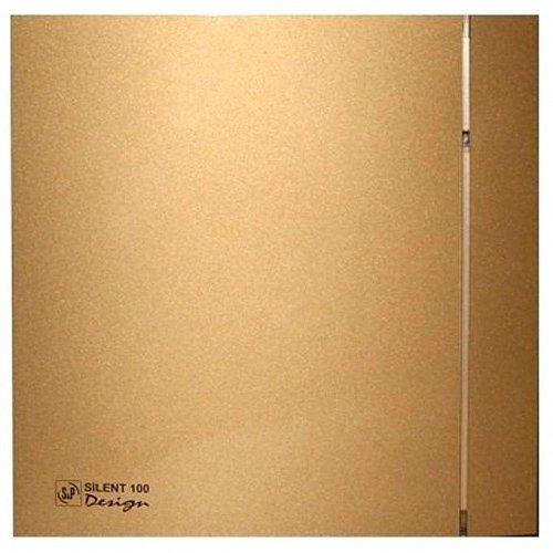 Вентилятор Soler &amp; Palau SILENT-100 CZ GOLD DESIGN-4CВытяжки для ванной<br>Soler   Palau SILENT-100 CZ GOLD DESIGN-4C &amp;ndash; это идеальный выбор для современного интерьера. Вентилятор с тонким корпусом Slimline золотого цвета станет прекрасным дополнением ванной комнаты или другого помещения с повышенным уровнем влажности. Удобная конструкция устройства позволяет установить вентилятор, как на стене, так и на потолке.&amp;nbsp;<br>Особенности и преимущества вентиляторов Soler   Palau представленной серии:<br><br>Разработаны специально для решения проблем вентиляции в ванных комнатах, санузлах и других небольших помещениях.<br>Электродвигатель крепится к корпусу при помощи резиновых &amp;laquo;сайлент-блоков&amp;raquo;, которые предотвращают передачу вибраций и шума от двигателя к корпусу вентилятора. Также, снижению шума способствует особая аэродинамическая форма передней решетки вентилятора.<br>Вентиляторы комплектуются шариковыми подшипниками &amp;ndash; это снижает шум, увеличивает срок службы и позволяет устанавливать вентилятор в любом положении. Срок службы вентиляторов SILENT составляет более 30000 часов.<br>Модельный ряд вентиляторов SILENT состоит из трех типоразмеров: SILENT-100, SILENT-200 и SILENT-300.<br><br>Модификации:<br><br>C &amp;mdash; Модель оснащена обратным клапаном.<br>Z &amp;mdash; Модель с шариковыми подшипниками, не требующими обслуживания (срок службы до 30000 часов).<br>R &amp;mdash; Модель оснащена регулируемым таймером, который позволяет вентиля- тору работать заданное время, после выключения.<br>H &amp;mdash; Модель оснащена гигростатом (датчиком влажности).<br>D &amp;mdash; Модель оснащена датчиком движения (радиус действия около 4 м).<br><br>Осевые вентиляторы из серии SILENT от торговой марки Soler   Palau &amp;mdash; это тихие и компактные помощники для ванной комнаты и любого другого помещения, где необходимо организовать вытяжку воздуха. Модели эргономичны и отличатся привлекательным внешним обликом, что делает их отличны