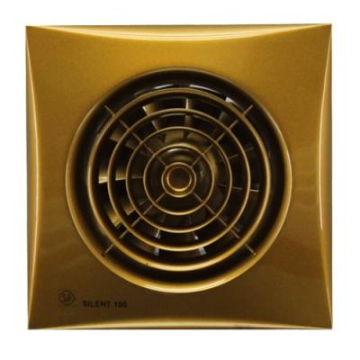 Вентилятор Soler &amp; Palau SILENT-100 CZ GoldВытяжки для ванной<br>Модель осевого вентилятора Soler   Palau SILENT-100 CZ Gold   это умное и стильное решения для вашего дома. Он отлично подходит для санузлов, ванных комнат, любых маленьких помещений. Двигатель модели очень тихий, а ее корпус выполнен в модном золотом цвете. Вентилятор снабжен множеством удобных функций, он имеет световой индикатор, обратный клапан, препятствующий выдуванию воздуха назад и защитную решетку винта.  <br>Особенности и преимущества вентиляторов Soler   Palau представленной серии:<br><br>Разработаны специально для решения проблем вентиляции в ванных комнатах, санузлах и других небольших помещениях.<br>Электродвигатель крепится к корпусу при помощи резиновых  сайлент-блоков , которые предотвращают передачу вибраций и шума от двигателя к корпусу вентилятора. Также, снижению шума способствует особая аэродинамическая форма передней решетки вентилятора.<br>Вентиляторы комплектуются шариковыми подшипниками   это снижает шум, увеличивает срок службы и позволяет устанавливать вентилятор в любом положении. Срок службы вентиляторов SILENT составляет более 30000 часов.<br>Модельный ряд вентиляторов SILENT состоит из трех типоразмеров: SILENT-100, SILENT-200 и SILENT-300.<br><br>Модификации:<br><br>C   Модель оснащена обратным клапаном.<br>Z   Модель с шариковыми подшипниками, не требующими обслуживания (срок службы до 30000 часов).<br>R   Модель оснащена регулируемым таймером, который позволяет вентиля- тору работать заданное время, после выключения.<br>H   Модель оснащена гигростатом (датчиком влажности).<br>D   Модель оснащена датчиком движения (радиус действия около 4 м).<br><br>Осевые вентиляторы из серии SILENT от торговой марки Soler   Palau   это тихие и компактные помощники для ванной комнаты и любого другого помещения, где необходимо организовать вытяжку воздуха. Модели эргономичны и отличатся привлекательным внешним обликом, что делает их отличным выбором для объектом, где предъявляются 