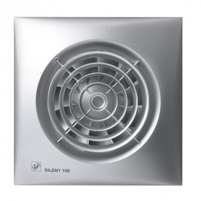 Вентилятор Soler &amp; Palau SILENT-100 CZ SILVERВытяжки для ванной<br>Вытяжной вентилятор Soler   Palau Soler   Palau SILENT-100 CZ Silver имеет стильное серебряное оформление корпуса и высокую функциональность. Малошумный двигатель позволяет устанавливать его в ванных комнатах, санузлах, любых небольших помещениях. Эта модель надежно крепиться на любую стену или потолок, ее винт имеет защитную решетку, корпус выполнен из литого пластика. Вентилятор также оснащен обратным клапаном и световой индикацией.&amp;nbsp;<br>Особенности и преимущества вентиляторов Soler   Palau представленной серии:<br><br>Разработаны специально для решения проблем вентиляции в ванных комнатах, санузлах и других небольших помещениях.<br>Электродвигатель крепится к корпусу при помощи резиновых &amp;laquo;сайлент-блоков&amp;raquo;, которые предотвращают передачу вибраций и шума от двигателя к корпусу вентилятора. Также, снижению шума способствует особая аэродинамическая форма передней решетки вентилятора.<br>Вентиляторы комплектуются шариковыми подшипниками &amp;ndash; это снижает шум, увеличивает срок службы и позволяет устанавливать вентилятор в любом положении. Срок службы вентиляторов SILENT составляет более 30000 часов.<br>Модельный ряд вентиляторов SILENT состоит из трех типоразмеров: SILENT-100, SILENT-200 и SILENT-300.<br><br>Модификации:<br><br>C &amp;mdash; Модель оснащена обратным клапаном.<br>Z &amp;mdash; Модель с шариковыми подшипниками, не требующими обслуживания (срок службы до 30000 часов).<br>R &amp;mdash; Модель оснащена регулируемым таймером, который позволяет вентиля- тору работать заданное время, после выключения.<br>H &amp;mdash; Модель оснащена гигростатом (датчиком влажности).<br>D &amp;mdash; Модель оснащена датчиком движения (радиус действия около 4 м).<br><br>Осевые вентиляторы из серии SILENT от торговой марки Soler   Palau &amp;mdash; это тихие и компактные помощники для ванной комнаты и любого другого помещения, где необходимо организовать вытяжку воздуха. Модел