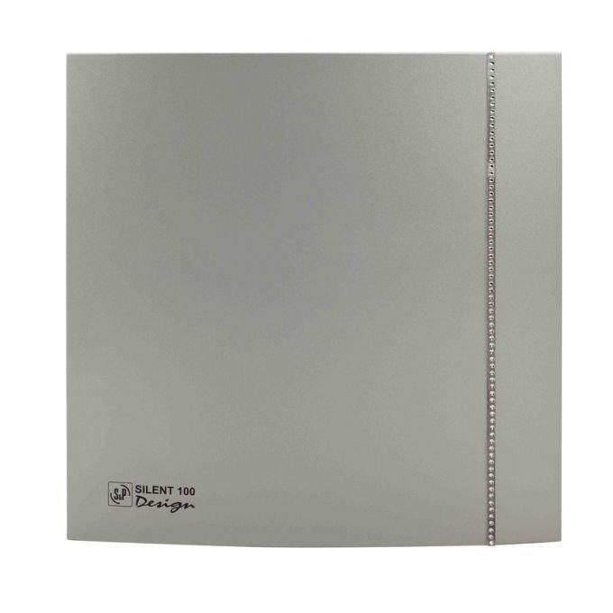 Вентилятор Soler &amp; Palau SILENT-100 CZ SILVER SWAROVSKI DESIGN (230V 50)Вытяжки для ванной<br>Soler   Palau SILENT-100 CZ SILVER SWAROVSKI DESIGN (230V 50) &amp;ndash; это сочетание высокого качества и современного дизайна. Модель декорирована камнями Сваровски, что делает ее уникальной деталью интерьера. Вентилятор предназначен для помещений с повышенным уровнем влажности и подходит, как для настенной, так и для потолочной установки.<br>Особенности и преимущества вентиляторов Soler   Palau представленной серии:<br><br>Разработаны специально для решения проблем вентиляции в ванных комнатах, санузлах и других небольших помещениях.<br>Электродвигатель крепится к корпусу при помощи резиновых &amp;laquo;сайлент-блоков&amp;raquo;, которые предотвращают передачу вибраций и шума от двигателя к корпусу вентилятора. Также, снижению шума способствует особая аэродинамическая форма передней решетки вентилятора.<br>Вентиляторы комплектуются шариковыми подшипниками &amp;ndash; это снижает шум, увеличивает срок службы и позволяет устанавливать вентилятор в любом положении. Срок службы вентиляторов SILENT составляет более 30000 часов.<br>Модельный ряд вентиляторов SILENT состоит из трех типоразмеров: SILENT-100, SILENT-200 и SILENT-300.<br><br>Модификации:<br><br>C &amp;mdash; Модель оснащена обратным клапаном.<br>Z &amp;mdash; Модель с шариковыми подшипниками, не требующими обслуживания (срок службы до 30000 часов).<br>R &amp;mdash; Модель оснащена регулируемым таймером, который позволяет вентиля- тору работать заданное время, после выключения.<br>H &amp;mdash; Модель оснащена гигростатом (датчиком влажности).<br>D &amp;mdash; Модель оснащена датчиком движения (радиус действия около 4 м).<br><br>Осевые вентиляторы из серии SILENT от торговой марки Soler   Palau &amp;mdash; это тихие и компактные помощники для ванной комнаты и любого другого помещения, где необходимо организовать вытяжку воздуха. Модели эргономичны и отличатся привлекательным внешним обликом, что делает их отли