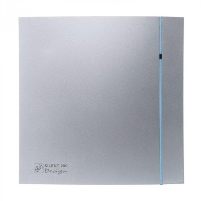 Вентилятор Soler &amp; Palau SILENT-200 CHZ SILVER DESIGN-3CВытяжки для ванной<br>Вентиляционная система Soler   Palau SILENT-200 CHZ SILVER DESIGN-3C станет прекрасным дополнением для современного интерьера. Его тонкий корпус серебряного цвета изготовлен из высокопрочного пластика. Комфортное управление, датчик влажности, система обратного хода и защита от пыли делают модель незаменимой для вентиляции помещений с небольшой площадью.<br>Особенности и преимущества вентиляторов Soler   Palau представленной серии:<br><br>Разработаны специально для решения проблем вентиляции в ванных комнатах, санузлах и других небольших помещениях.<br>Электродвигатель крепится к корпусу при помощи резиновых  сайлент-блоков , которые предотвращают передачу вибраций и шума от двигателя к корпусу вентилятора. Также, снижению шума способствует особая аэродинамическая форма передней решетки вентилятора.<br>Вентиляторы комплектуются шариковыми подшипниками   это снижает шум, увеличивает срок службы и позволяет устанавливать вентилятор в любом положении. Срок службы вентиляторов SILENT составляет более 30000 часов.<br>Модельный ряд вентиляторов SILENT состоит из трех типоразмеров: SILENT-100, SILENT-200 и SILENT-300.<br><br>Модификации:<br><br>C   Модель оснащена обратным клапаном.<br>Z   Модель с шариковыми подшипниками, не требующими обслуживания (срок службы до 30000 часов).<br>R   Модель оснащена регулируемым таймером, который позволяет вентиля- тору работать заданное время, после выключения.<br>H   Модель оснащена гигростатом (датчиком влажности).<br>D   Модель оснащена датчиком движения (радиус действия около 4 м).<br><br>Осевые вентиляторы из серии SILENT от торговой марки Soler   Palau   это тихие и компактные помощники для ванной комнаты и любого другого помещения, где необходимо организовать вытяжку воздуха. Модели эргономичны и отличатся привлекательным внешним обликом, что делает их отличным выбором для объектом, где предъявляются повышенные требования к оформительскому решению. С