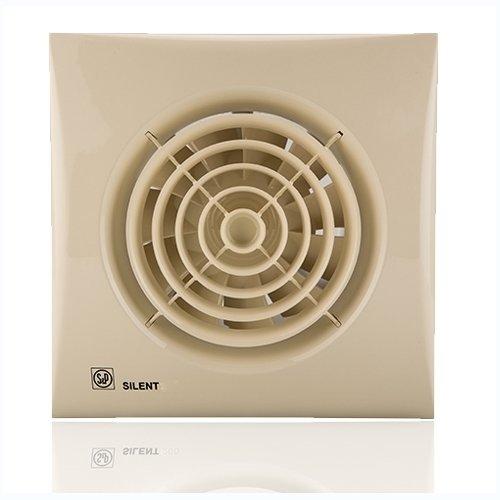Вентилятор Soler &amp; Palau SILENT-200 CZ CHAMPAGNEВытяжки для ванной<br>Осевой вентилятор Soler   Palau Soler   Palau SILENT-200 CZ CAMPAGINE имеет стильный дизайн и высокую производительность. Его корпус из литого пластика выполнен в стильном цветовом решении, а винт защищен специальной решеткой. Модель имеет малошумный двигатель, отлично подходит для любых небольших помещений. Вентилятор оснащен функциями световой индикации, регулируемым таймером и датчиками движения. <br>Особенности и преимущества вентиляторов Soler   Palau представленной серии:<br><br>Разработаны специально для решения проблем вентиляции в ванных комнатах, санузлах и других небольших помещениях.<br>Электродвигатель крепится к корпусу при помощи резиновых  сайлент-блоков , которые предотвращают передачу вибраций и шума от двигателя к корпусу вентилятора. Также, снижению шума способствует особая аэродинамическая форма передней решетки вентилятора.<br>Вентиляторы комплектуются шариковыми подшипниками   это снижает шум, увеличивает срок службы и позволяет устанавливать вентилятор в любом положении. Срок службы вентиляторов SILENT составляет более 30000 часов.<br>Модельный ряд вентиляторов SILENT состоит из трех типоразмеров: SILENT-100, SILENT-200 и SILENT-300.<br><br>Модификации:<br><br>C   Модель оснащена обратным клапаном.<br>Z   Модель с шариковыми подшипниками, не требующими обслуживания (срок службы до 30000 часов).<br>R   Модель оснащена регулируемым таймером, который позволяет вентиля- тору работать заданное время, после выключения.<br>H   Модель оснащена гигростатом (датчиком влажности).<br>D   Модель оснащена датчиком движения (радиус действия около 4 м).<br><br>Осевые вентиляторы из серии SILENT от торговой марки Soler   Palau   это тихие и компактные помощники для ванной комнаты и любого другого помещения, где необходимо организовать вытяжку воздуха. Модели эргономичны и отличатся привлекательным внешним обликом, что делает их отличным выбором для объектом, где предъявляются повышенные