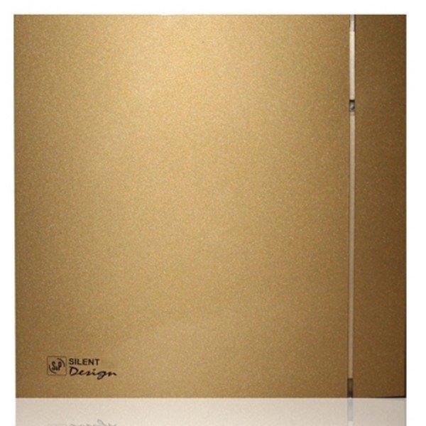 Вытяжка для ванной Soler &amp; PalauВытяжки для ванной<br>Soler   Palau SILENT-200 CZ GOLD DESIGN - 4C (230V 50)   это выбор настоящих эстетов. Его тонкий корпус Slimline золотого цвета прекрасно подходит для современного интерьера. Рекомендуется устанавливать модель в помещении с небольшой площадью и повышенным уровнем влажности. Система обратного хода и шарикоподшипники гарантируют долгий срок службы оборудования.<br>Особенности и преимущества вентиляторов Soler   Palau представленной серии:<br><br>Разработаны специально для решения проблем вентиляции в ванных комнатах, санузлах и других небольших помещениях.<br>Электродвигатель крепится к корпусу при помощи резиновых  сайлент-блоков , которые предотвращают передачу вибраций и шума от двигателя к корпусу вентилятора. Также, снижению шума способствует особая аэродинамическая форма передней решетки вентилятора.<br>Вентиляторы комплектуются шариковыми подшипниками   это снижает шум, увеличивает срок службы и позволяет устанавливать вентилятор в любом положении. Срок службы вентиляторов SILENT составляет более 30000 часов.<br>Модельный ряд вентиляторов SILENT состоит из трех типоразмеров: SILENT-100, SILENT-200 и SILENT-300.<br><br>Модификации:<br><br>C   Модель оснащена обратным клапаном.<br>Z   Модель с шариковыми подшипниками, не требующими обслуживания (срок службы до 30000 часов).<br>R   Модель оснащена регулируемым таймером, который позволяет вентиля- тору работать заданное время, после выключения.<br>H   Модель оснащена гигростатом (датчиком влажности).<br>D   Модель оснащена датчиком движения (радиус действия около 4 м).<br><br>Осевые вентиляторы из серии SILENT от торговой марки Soler   Palau   это тихие и компактные помощники для ванной комнаты и любого другого помещения, где необходимо организовать вытяжку воздуха. Модели эргономичны и отличатся привлекательным внешним обликом, что делает их отличным выбором для объектом, где предъявляются повышенные требования к оформительскому решению. Семейство весь разн
