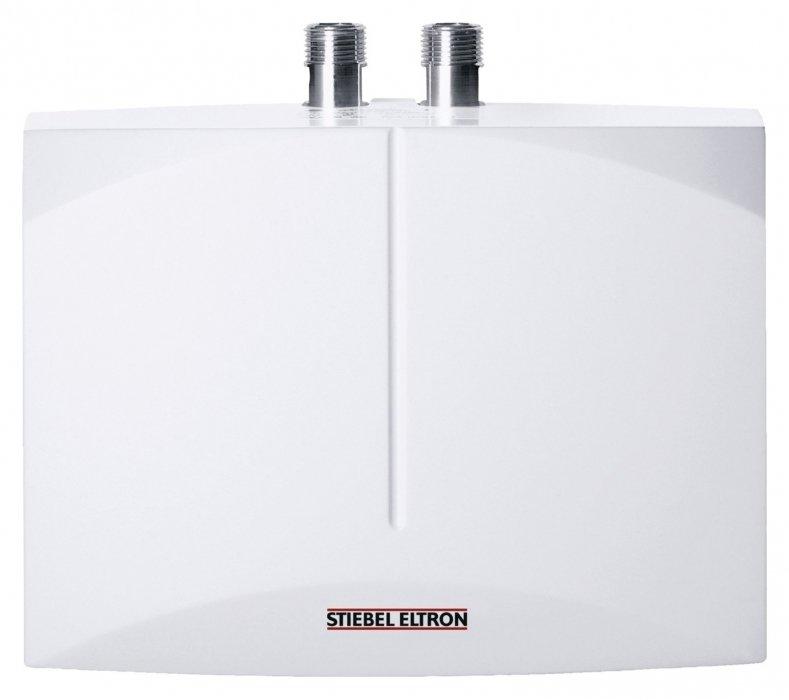 """Водонагреватель Stiebel Eltron DHM 66 кВт<br><br>тратит электроэнергию только на нагрев воды, которая используется в данный момент. Компактные размеры и отсутствие внутреннего бака делают монтаж прибора элементарным. Устройство устанавливается непосредственно над или под раковиной. Имеется защита от накипи и воздушных пробок. Класс защиты IP25 означает неуязвимость модели к струям воды.<br><br>Основные характеристики представленной модели:<br><br>проточный водонагреватель напорного (закрытого) типа отличается компактностью и универсальной конструкцией, поэтому его можно монтировать как над, так и под раковиной при помощи стандартной напорной арматуры;<br>способен обеспечивать нагретой водой более одного водоразборного узла;<br>управление гидравлическое;<br>колба, в которой происходит нагрев воды, выполнена из термостойкого пластика;<br>нагревательный элемент — спираль из неизолированной электродной проволоки, устойчивая к накипи. Прибор можно эксплуатировать с «жесткой» водой;<br>нагревательный элемент (ТЭН) включается автоматически в тот момент, когда пользователь открывает водозаборную арматуру;<br>максимально быстрый нагрев воды до установленной температуры при расходе2,5 литровв минуту;<br>температура регулируется простым уменьшением или увеличением мощности струи воды;<br>расход воды на постоянном уровне поддерживается при помощи автоматического встроенного регулятора;<br>предохранительный температурный ограничитель помогает избежать перегрева прибора;<br>водонагреватель не боится низкого давления;<br>надежная защита прибора от перегрева;<br>максимальное рабочее давление 10 бар (атмосфер);<br>класс защиты корпуса IP 25;<br>диаметр подключения магистрали холодной и горячей воды — 3/8"""" (наружная резьба).<br><br><br>Stiebel Eltron – это группа компаний, которая на сегодняшний день является одним из лидеров в индустрии климата и горячего водоснабжения. Для производства своей продукции компания используется инновационный подход, но оставаясь верными своим традициям."""