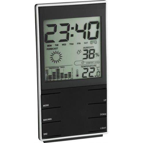 Цифровая метеостанция TFAБез радиодатчика<br>TFA 35.1102.01   это метеостанция, предназначенная для измерения давления, влажности и температуры воздуха. В устройство встроен усовершенствованный органайзер. Домашний прибор от немецких производителей проинформирует о прогнозе погоды, температурном графике, а так же привнесет европейскую новизну в ваш интерьер.<br>Особенности и преимущества:<br><br>Отображение времени в 24-часовом формате<br>Календарь отображает число, месяц, день недели.<br>Имеется будильник, с функцией  дремать .<br>Прогноз погоды в виде графических символов   ясно, облачность, осадки.<br>Индикатор изменения температуры.<br>Температура воздуха отображается в градусах по Цельсию ( С) либо Фаренгейту ( F).<br>Относительная влажность воздуха отображается в %.<br>Диапазон измерения: Температура: 0 +50 , Влажность 20 - 99%<br>Датчика атмосферного давления в приборе нет<br>Питание: 2 батарейки типа ААА (в комплект не входят)<br><br>Часам и метеоприборам TFA характерен эксклюзивный дизайн и европейское качество. Продукция данного бренда занимает лидирующие позиции на рынке и стоит  на прилавках магазинов в 80 странах мира. Устройства работают с высокой точностью и дают температурные показатели в домах и за их пределами. Вся продукция сертифицирована.<br><br>Страна: Германия<br>Диапазон темп. t, С: 0+50<br>Диапазон p, мм. рт. ст.: Нет<br>Диапазон rH, : 2099<br>Разрешение t, С: None<br>Цвет корпуса: Черный<br>Питание, В: Батарейки<br>Колво батареек: 2<br>Тип батарейки: ААА<br>Адаптер к 220В: Нет<br>В комнате t, С: Нет<br>За окном t, С: Есть<br>Влажность в помещении: Нет<br>Влажность за окном: Да<br>Давление: Нет<br>Прогноз погоды: Да<br>Лунный календарь: Нет<br>Размер, мм: 75x20x140<br>Вес, кг: 1<br>Гарантия: 1 год<br>Ширина мм: 20<br>Высота мм: 75<br>Глубина мм: 140