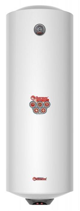 Электрический накопительный водонагреватель Thermex150 литров<br>Thermex (Термекс) Thermo 150 V представляет собой модель усовершенствованного накопительного водонагревателя электрического типа. Корпус нагревателя изготовлен из металла, надежно защищенного от воздействия окружающей среды. При изготовлении внутреннего бака использовалась нержавеющая сталь. Между корпусом и баком присутствует слой термозащитного пенополиуретана.<br>Особенности и преимущества:<br><br>Низкая чувствительность к большому потреблению воды. Номинальная мощность ТЭНов 2,5 кВт обеспечивает эффективный нагрев при активном потреблении горячей воды;<br>Быстрое получение горячей воды после включения. За считанные минуты после включения в сеть потребитель получает полный бак горячей воды: 36 мин.   30 л, 60 мин.   50 л, 96 мин.   80 л, 120 мин.   100 л;<br>Два года гарантии на основные компоненты: нагревательный элемент, термостат, лампочки-индикаторы, уплотнительные прокладки, индикатор температуры, предохранительный клапан.<br><br>Одна из особенностей водонагревателей из семейства Thermo   быстрое приготовление горячей воды, что обеспечивает комфорт их эксплуатации. Оборудование разработано компанией Thermex   известным отечественным производителем, продукция которого пользуется особым спросом на российском рынке. Водонагреватели от компании Thermex   это отличное качество, передовые решения, высокая надежность и безопасность.<br><br>Страна: Россия<br>Производитель: Россия<br>Способ нагрева: Электрический<br>Нагревательный элемент: Трубчатый<br>Объем, л: 150<br>Темп. нагрева, С: 80<br>Мощность, кВт: 2,5<br>Напряжение сети, В: 220 В<br>Плоский бак: Нет<br>Узкий бак Slim: Нет<br>Магниевый анод: Да<br>Колво ТЭНов: 1<br>Дисплей: Нет<br>Сухой ТЭН: Нет<br>Защита от перегрева: Да<br>Покрытие бака: Биостеклофарфор<br>Тип установки: Вертикальная<br>Подводка: Нижняя<br>Управление: Механическое<br>Размеры ШхВхГ, см: 44,5x128,3x45,9<br>Вес, кг: 36<br>Гарантия: 2 года<br>Ширина мм: 445<br>Высота мм: 1283<br>
